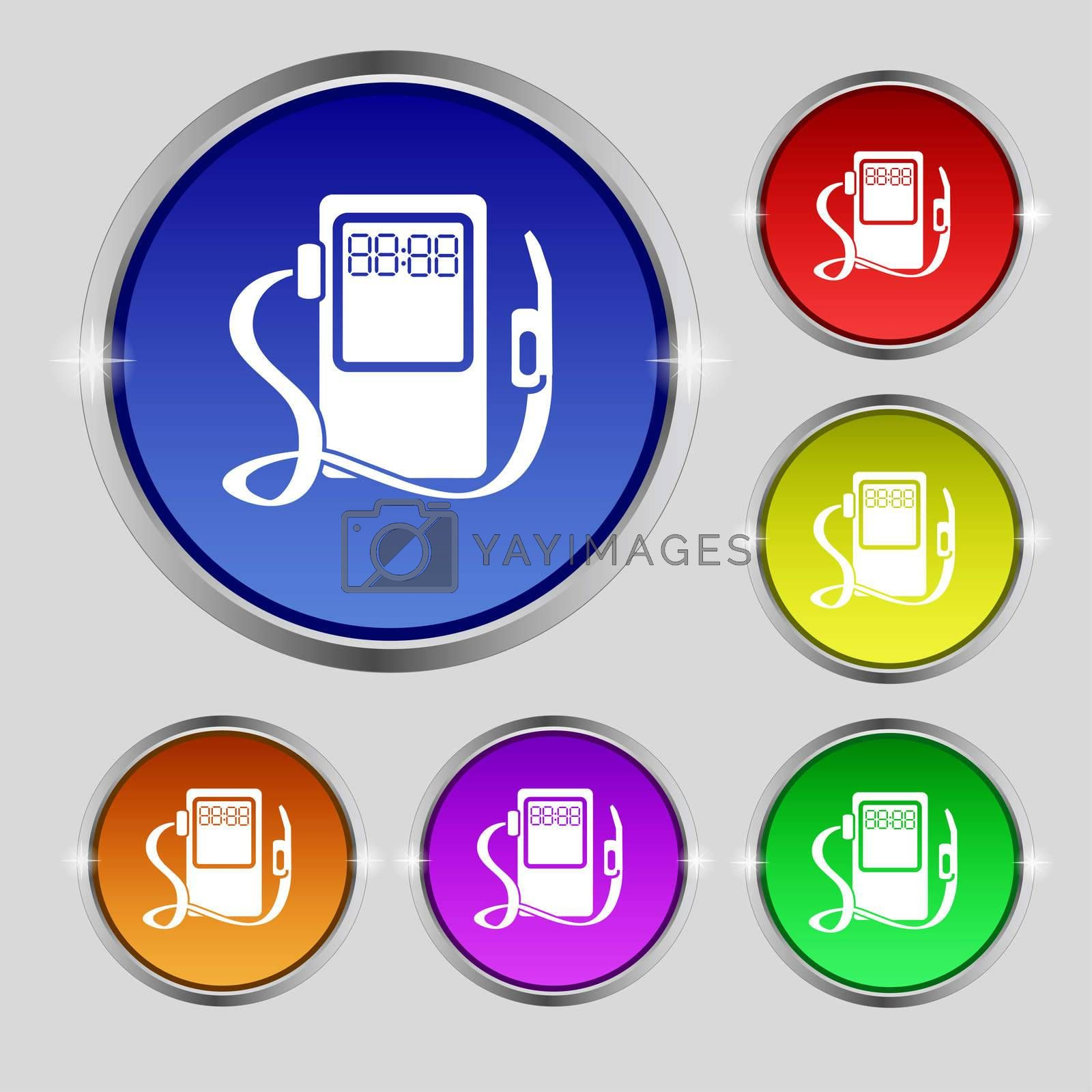 Gas, fuel station sign icon. symbol. Set of colored buttons.  by Serhii Lohvyniuk