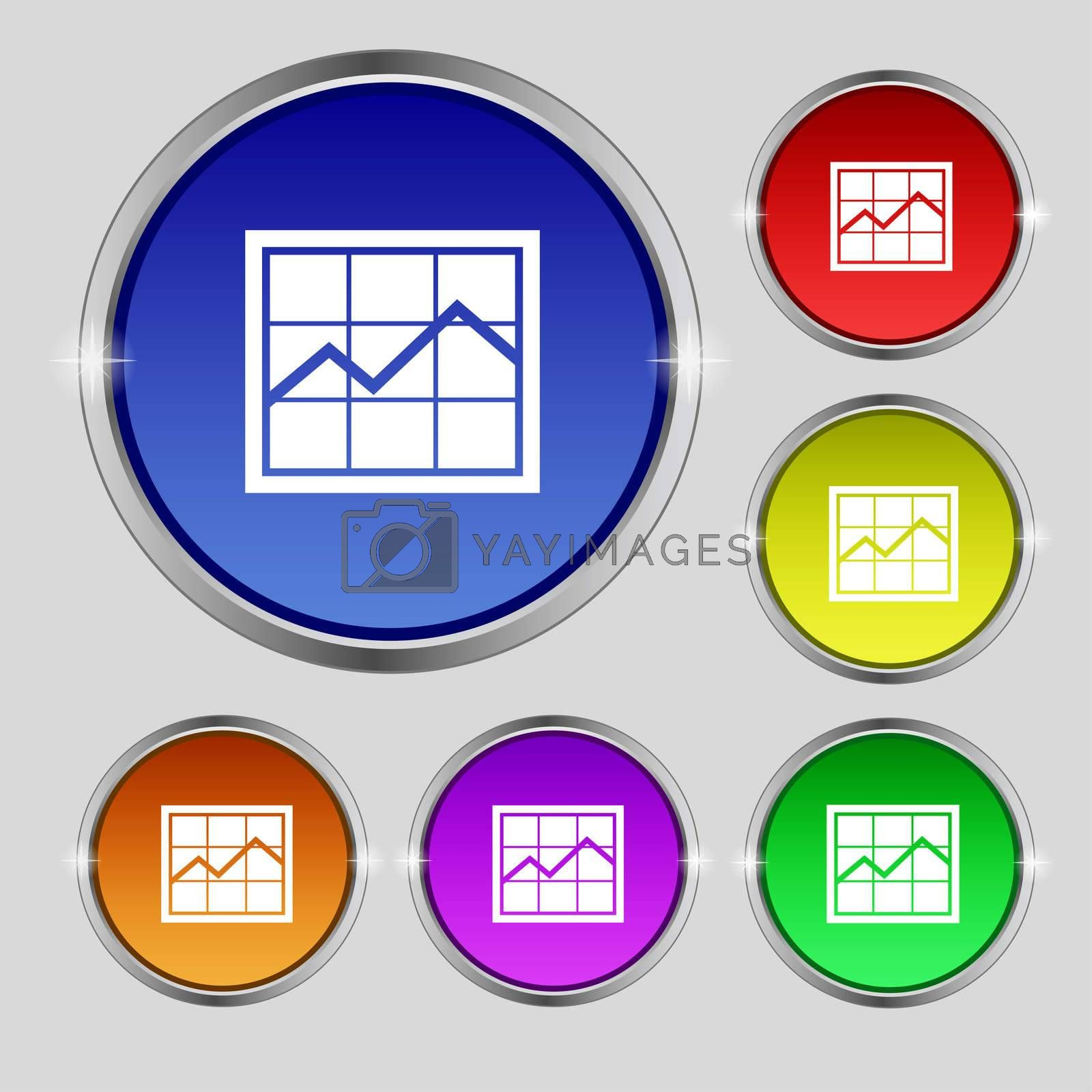 Chart icon sign. Round symbol on bright colourful buttons.  by Serhii Lohvyniuk