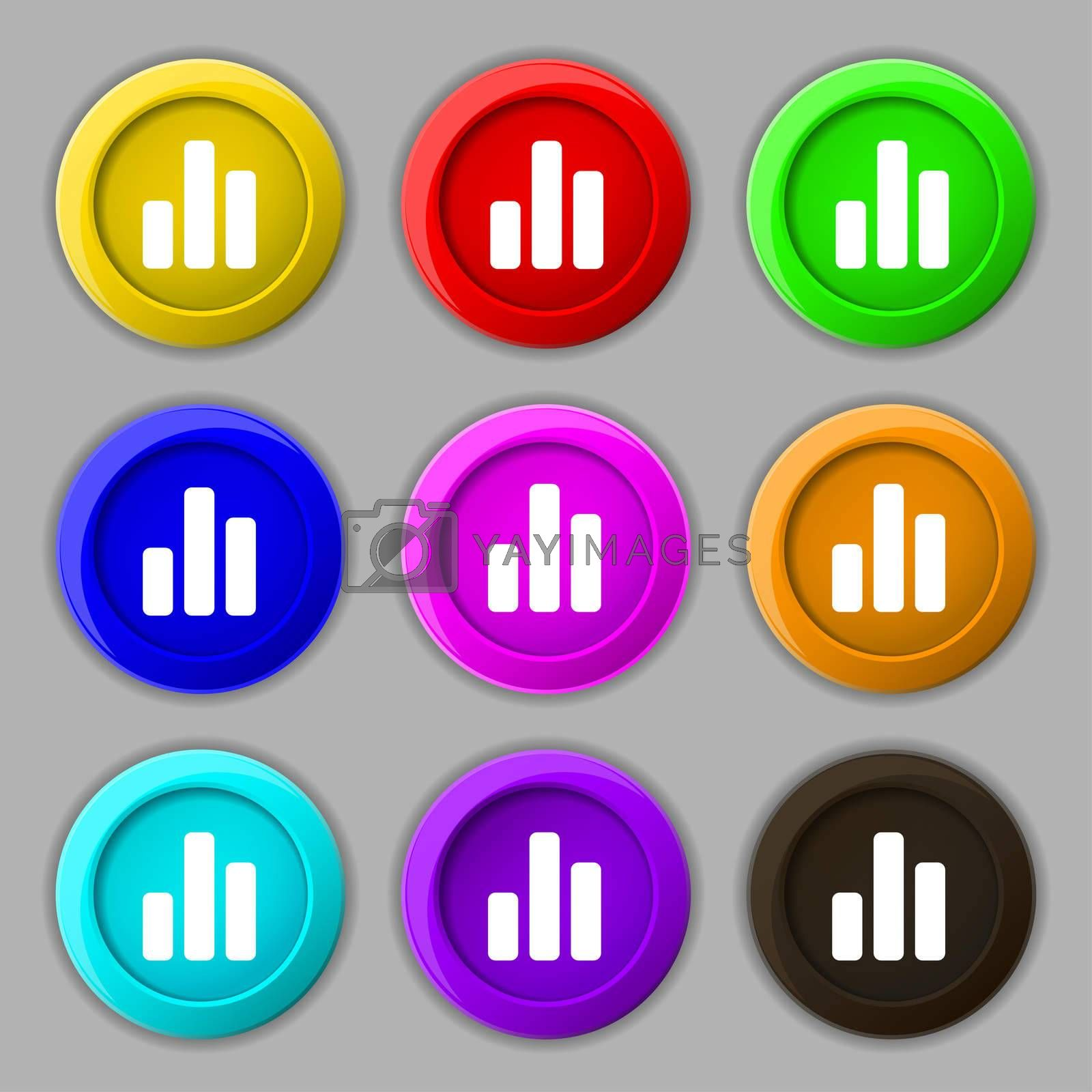 Growth and development concept. graph of Rate icon sign. symbol on nine round colourful buttons.  by Serhii Lohvyniuk
