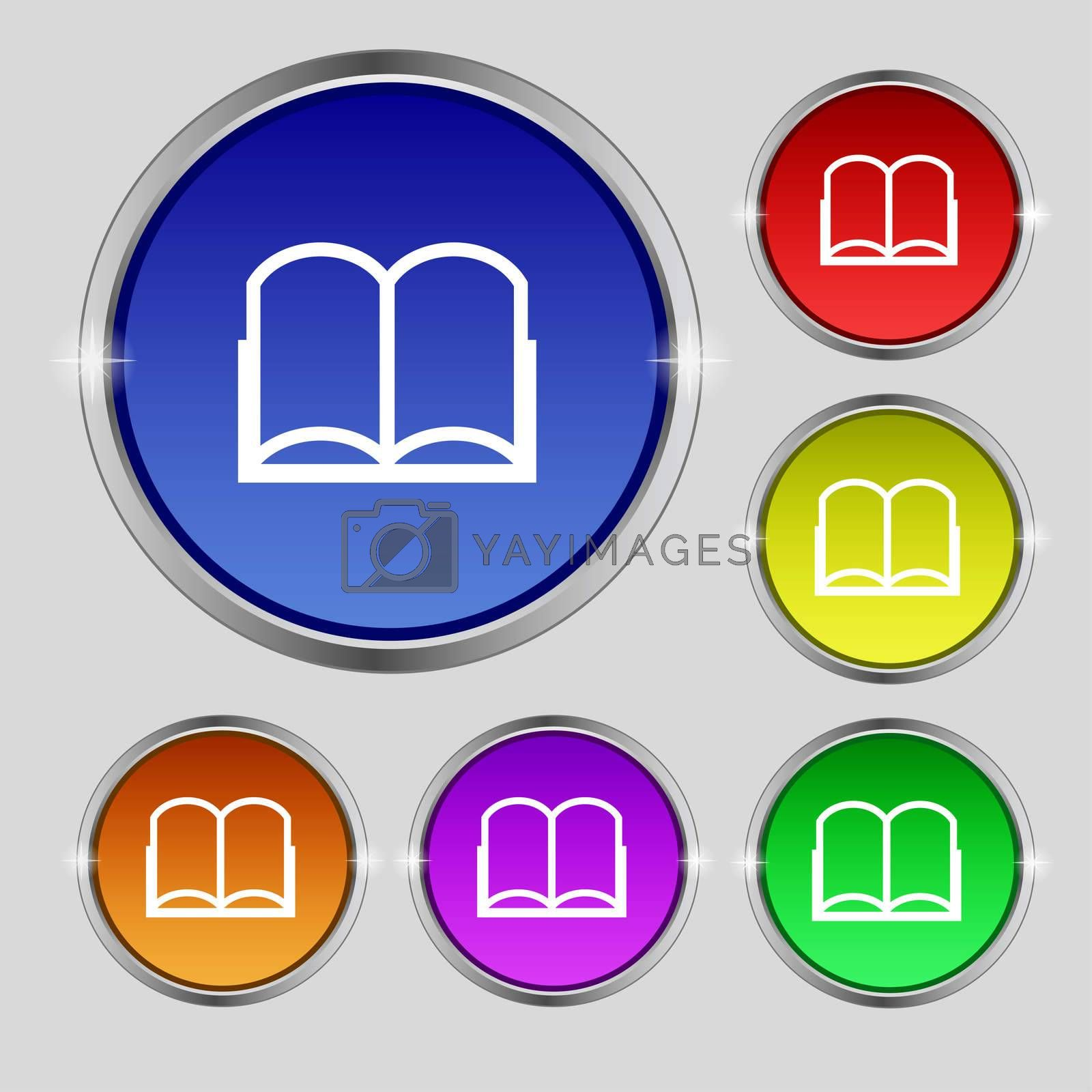Book sign icon. Open book symbol. Set of colored buttons.  by Serhii Lohvyniuk