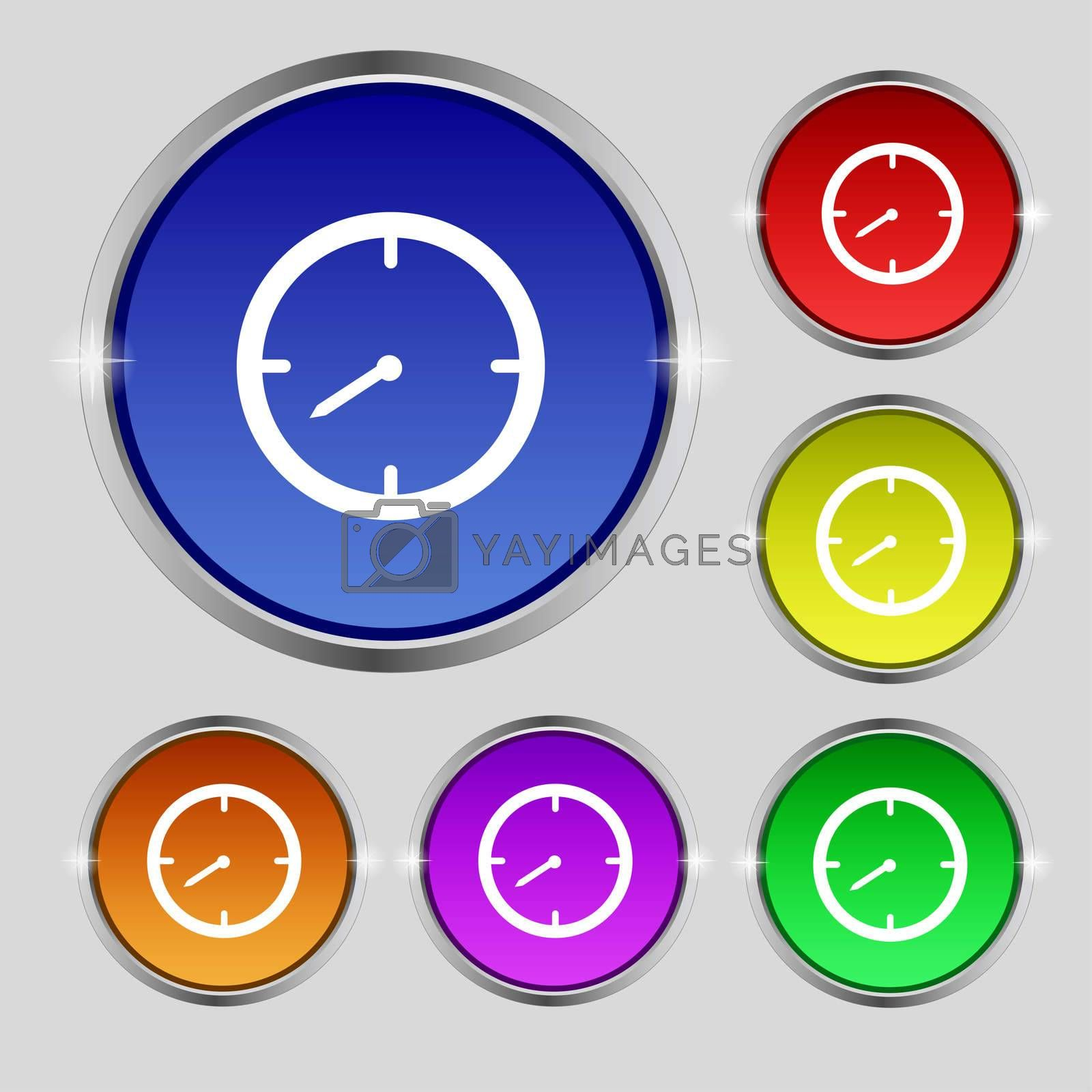 Timer sign icon. Stopwatch symbol. Set of colourful buttons.  by Serhii Lohvyniuk