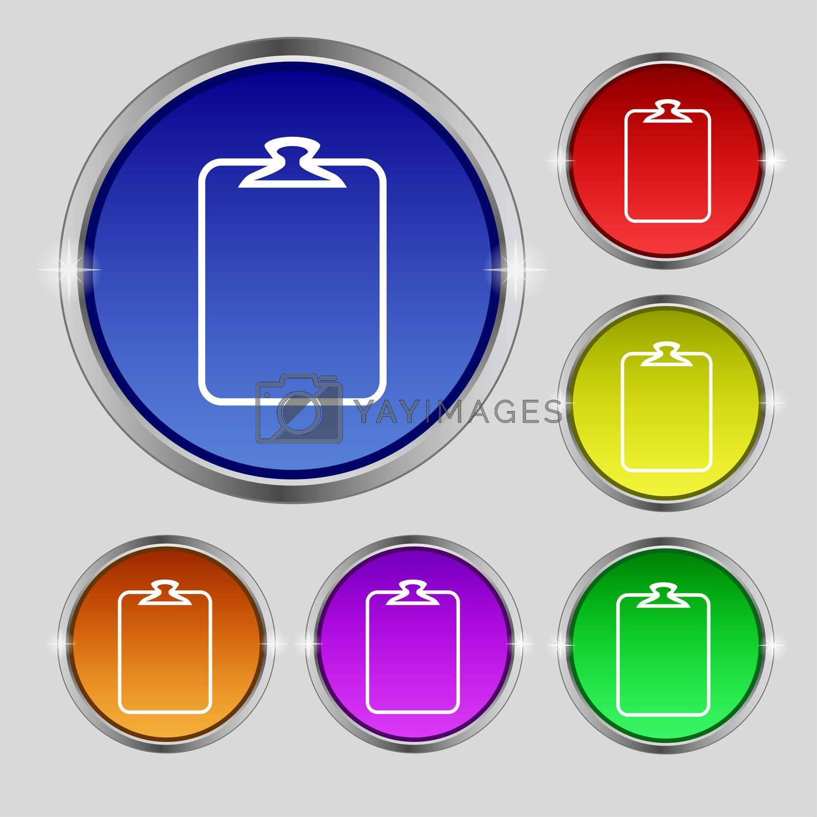 File annex icon. Paper clip symbol. Attach sign. Set of coloured buttons.  by Serhii Lohvyniuk