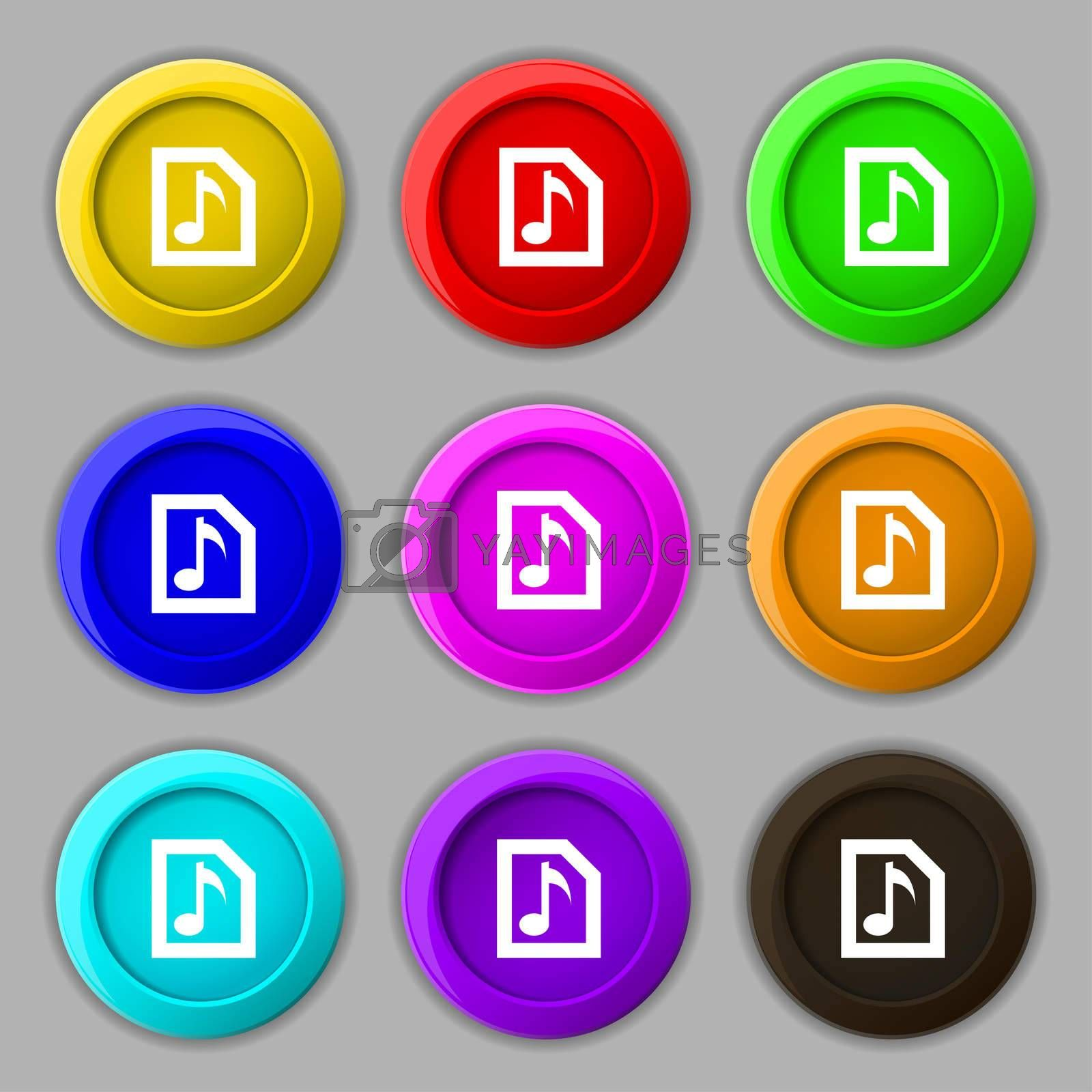 Audio, MP3 file icon sign. symbol on nine round colourful buttons.  by Serhii Lohvyniuk