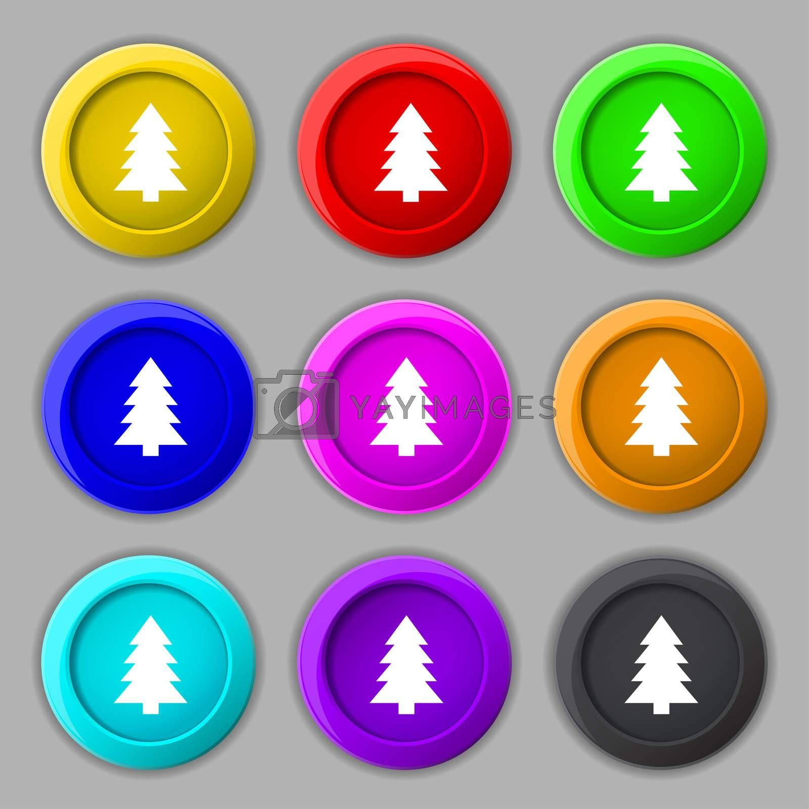 Christmas tree sign icon. Holidays button. Set of colored buttons.  by Serhii Lohvyniuk