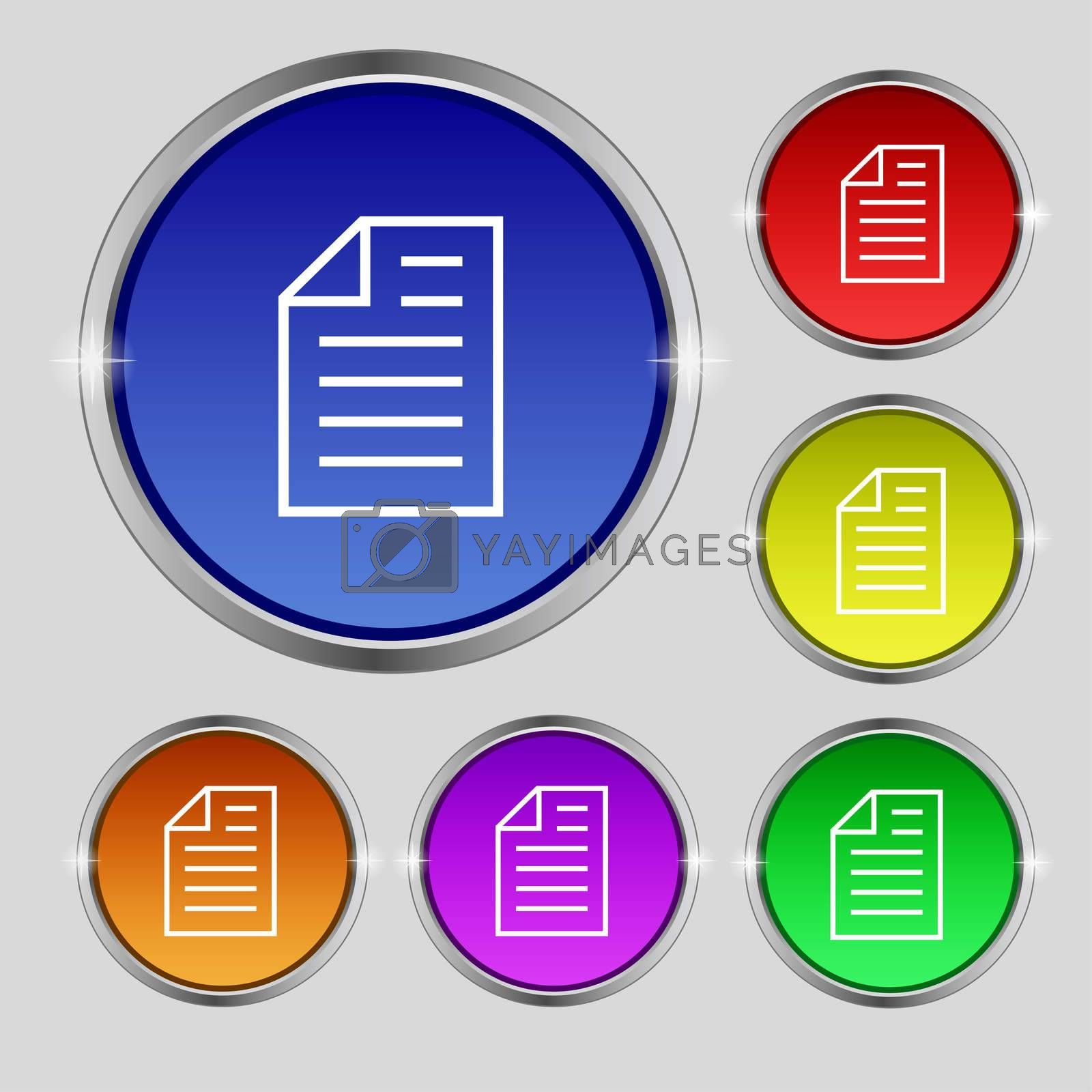 Text file sign icon. File document symbol. Set of coloured buttons.  by Serhii Lohvyniuk
