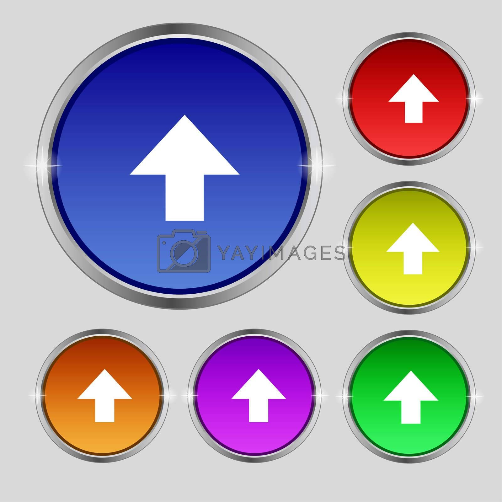 This side up sign icon. Fragile package symbol. Set colourful buttons.  by Serhii Lohvyniuk