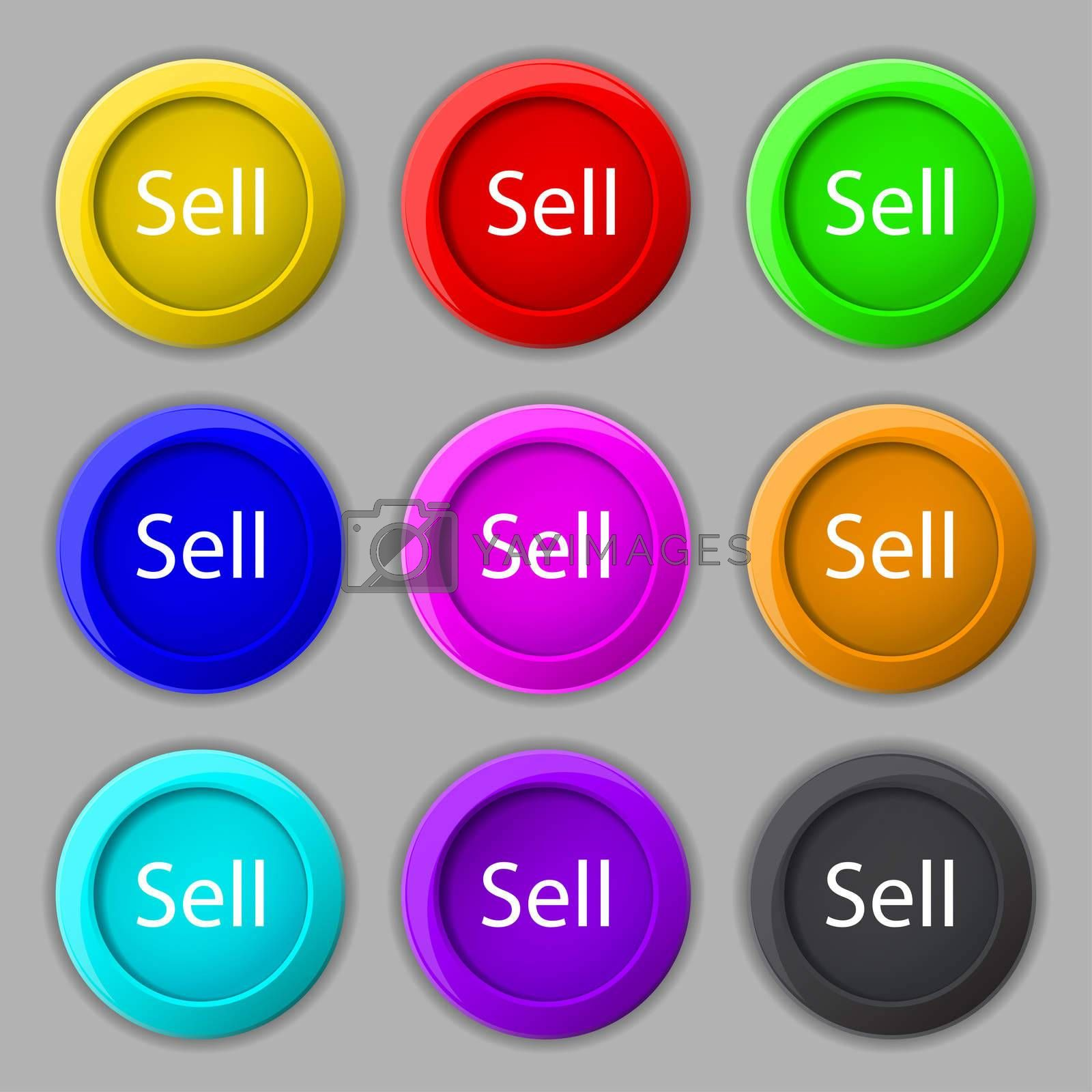 Sell sign icon. Contributor earnings button. Set of colored buttons.  by Serhii Lohvyniuk