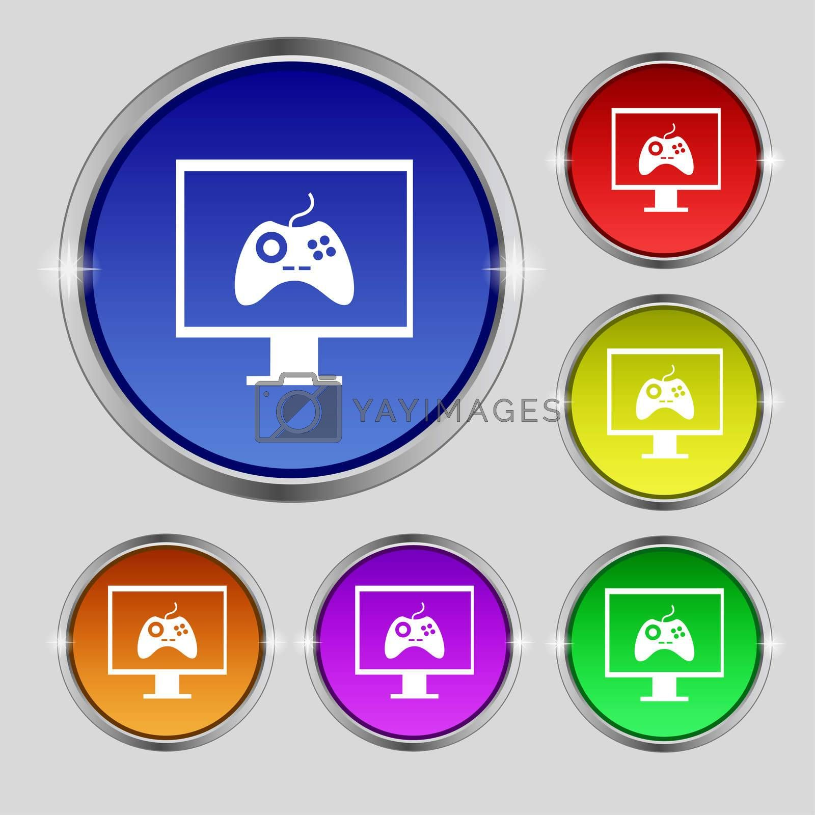 Joystick and monitor sign icon. Video game symbol. Set colourful buttons.  by Serhii Lohvyniuk