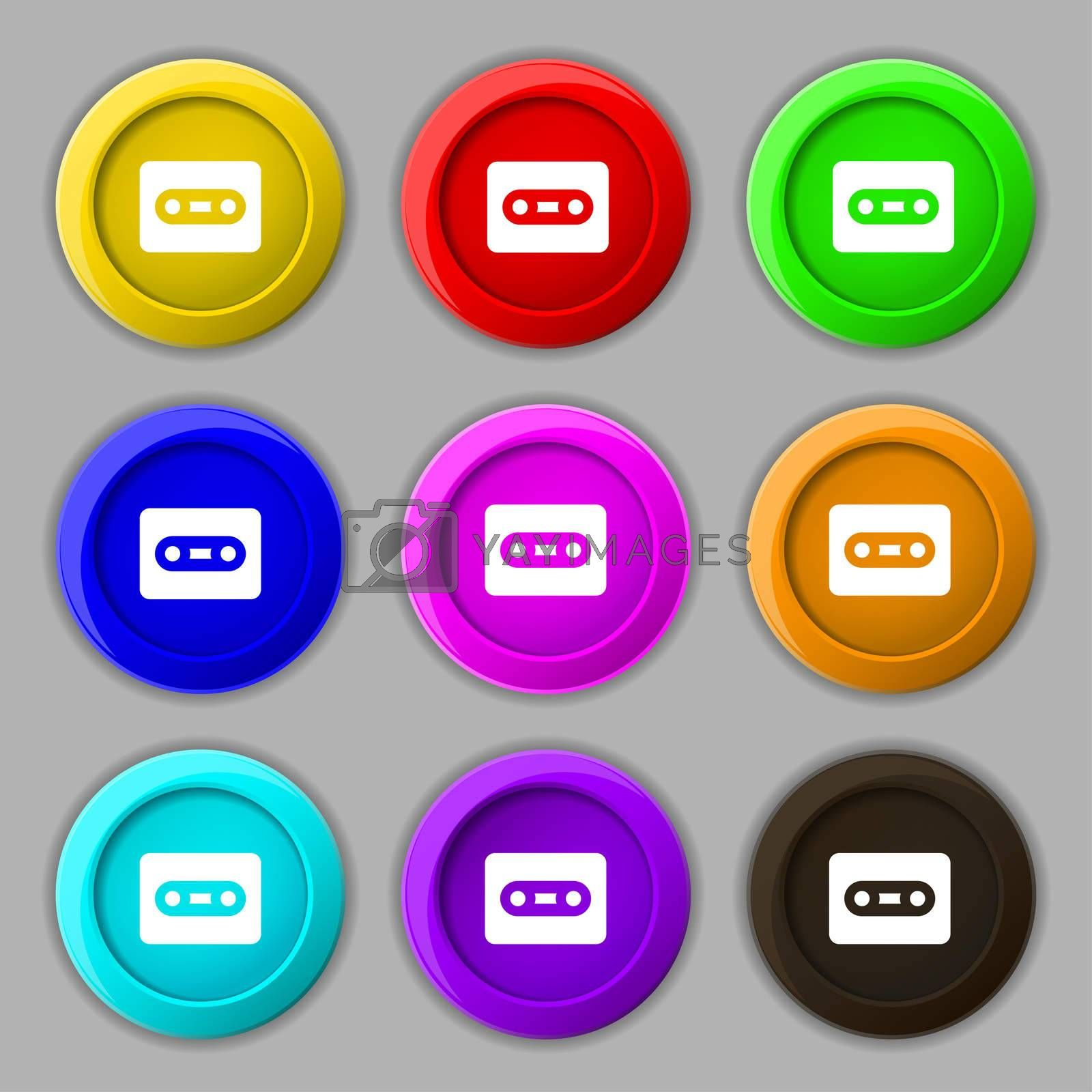 Cassette icon sign. symbol on nine round colourful buttons.  by Serhii Lohvyniuk