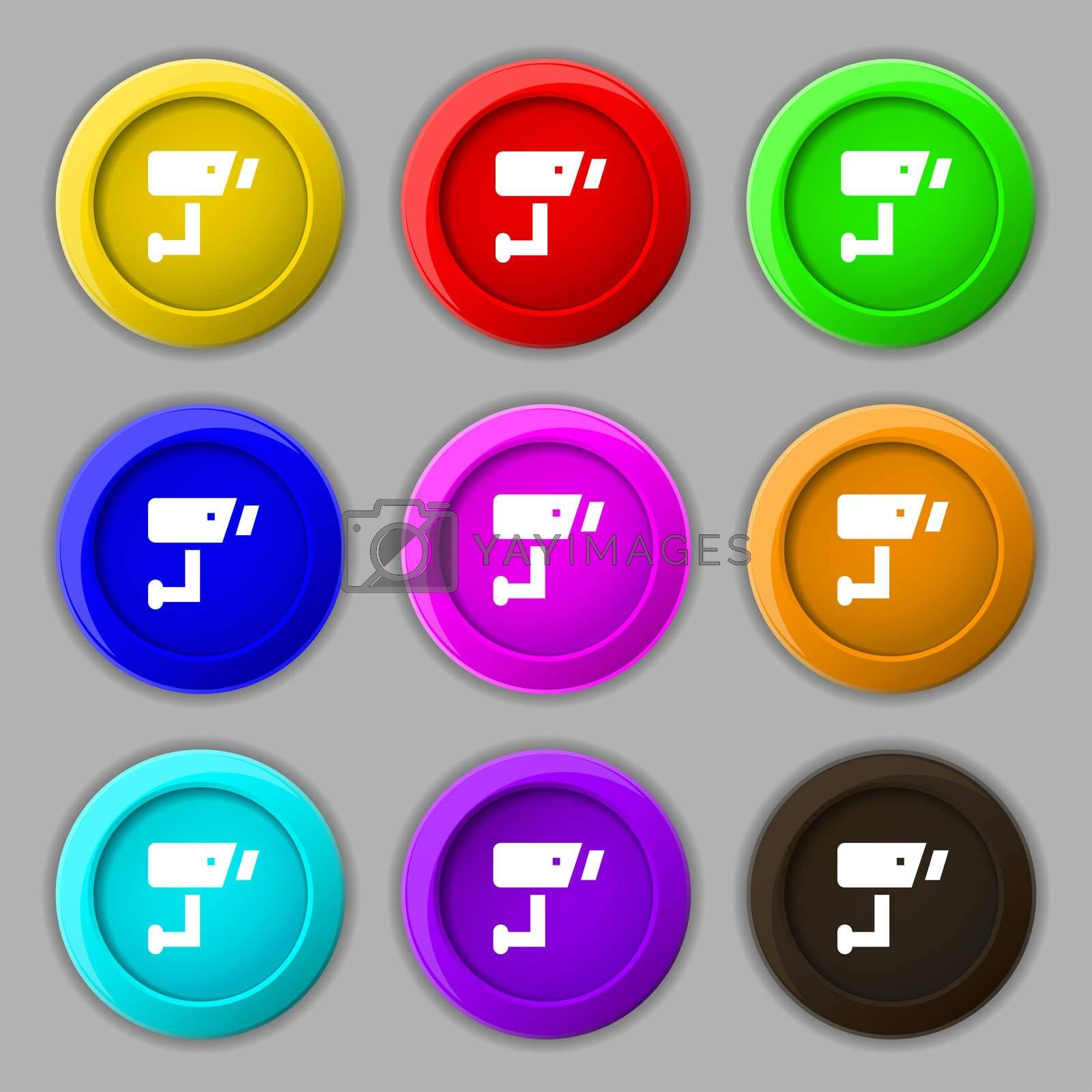 Surveillance Camera icon sign. symbol on nine round colourful buttons.  by Serhii Lohvyniuk