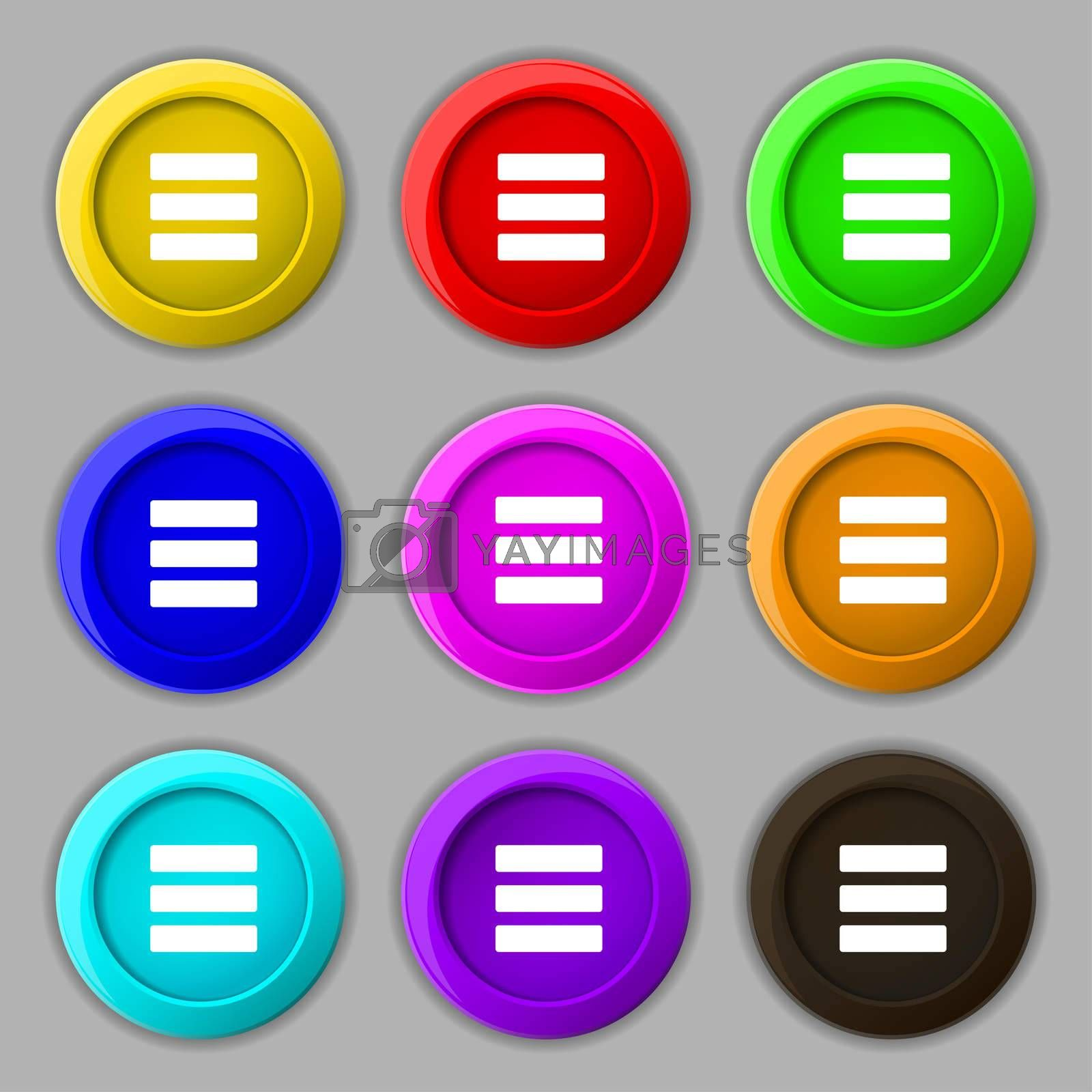 List menu, Content view options icon sign. symbol on nine round colourful buttons.  by Serhii Lohvyniuk