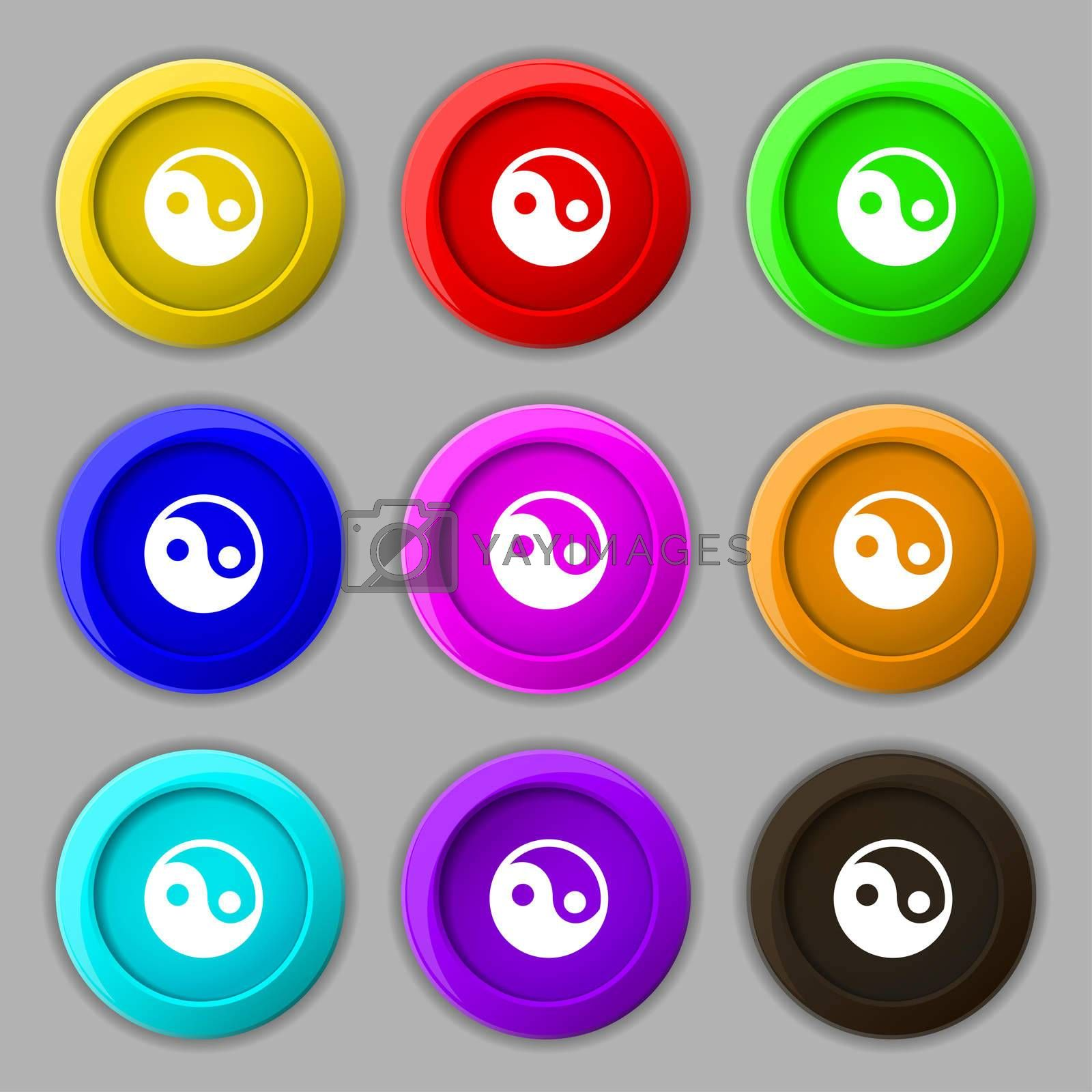 Ying yang icon sign. symbol on nine round colourful buttons.  by Serhii Lohvyniuk