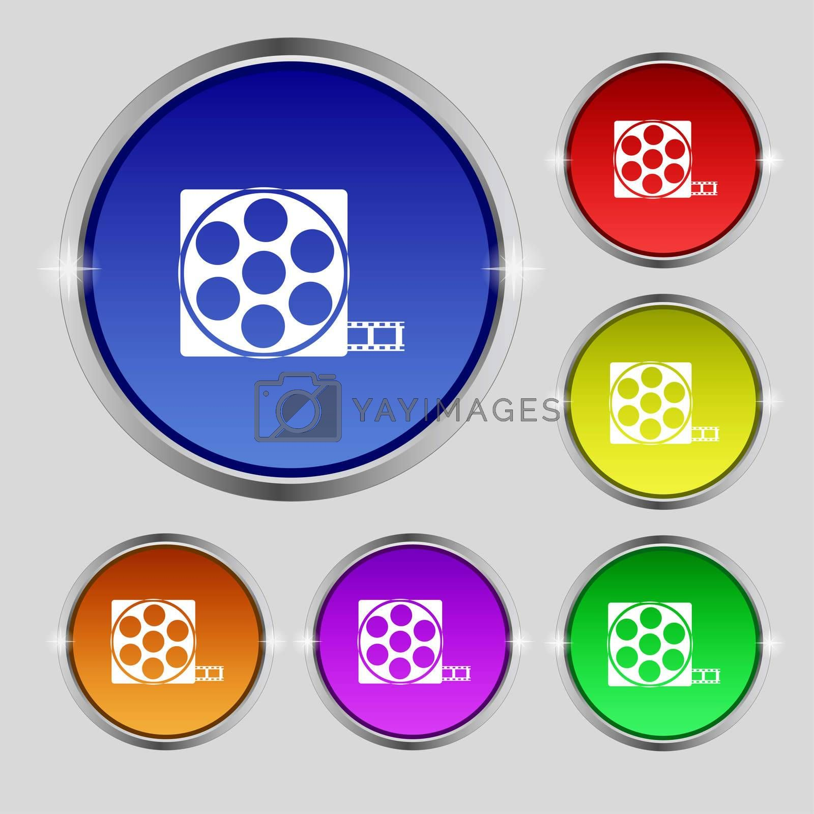 Video sign icon. frame symbol. Set colourful buttons.  by Serhii Lohvyniuk