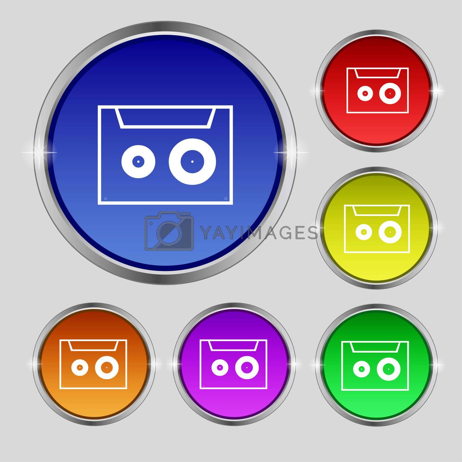 cassette sign icon. Audiocassette symbol. Set of colour buttons.  by Serhii Lohvyniuk