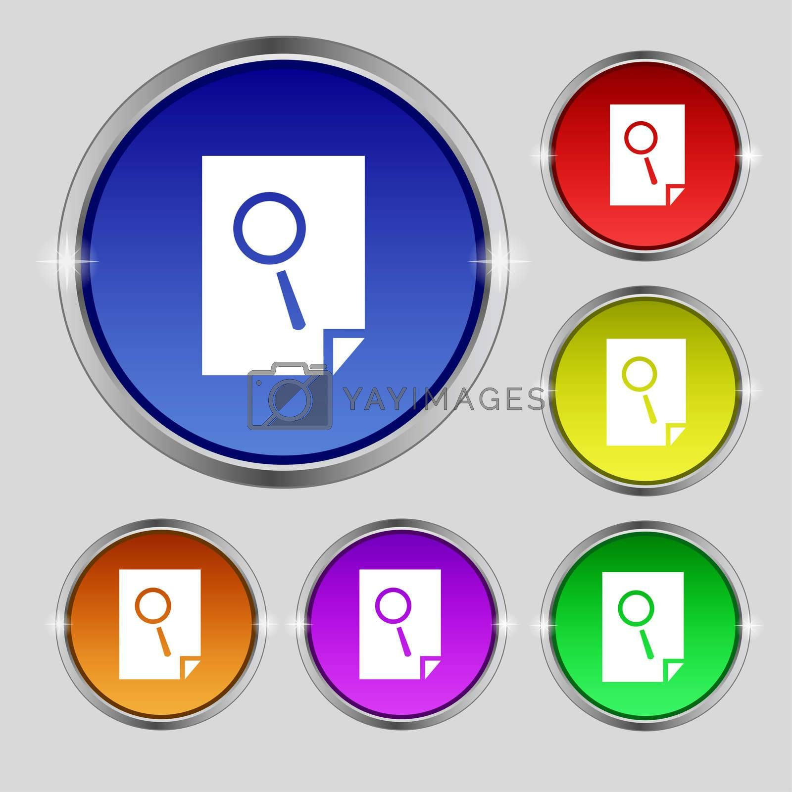 Search in file sign icon. Find document symbol. Set of colored buttons.  by Serhii Lohvyniuk