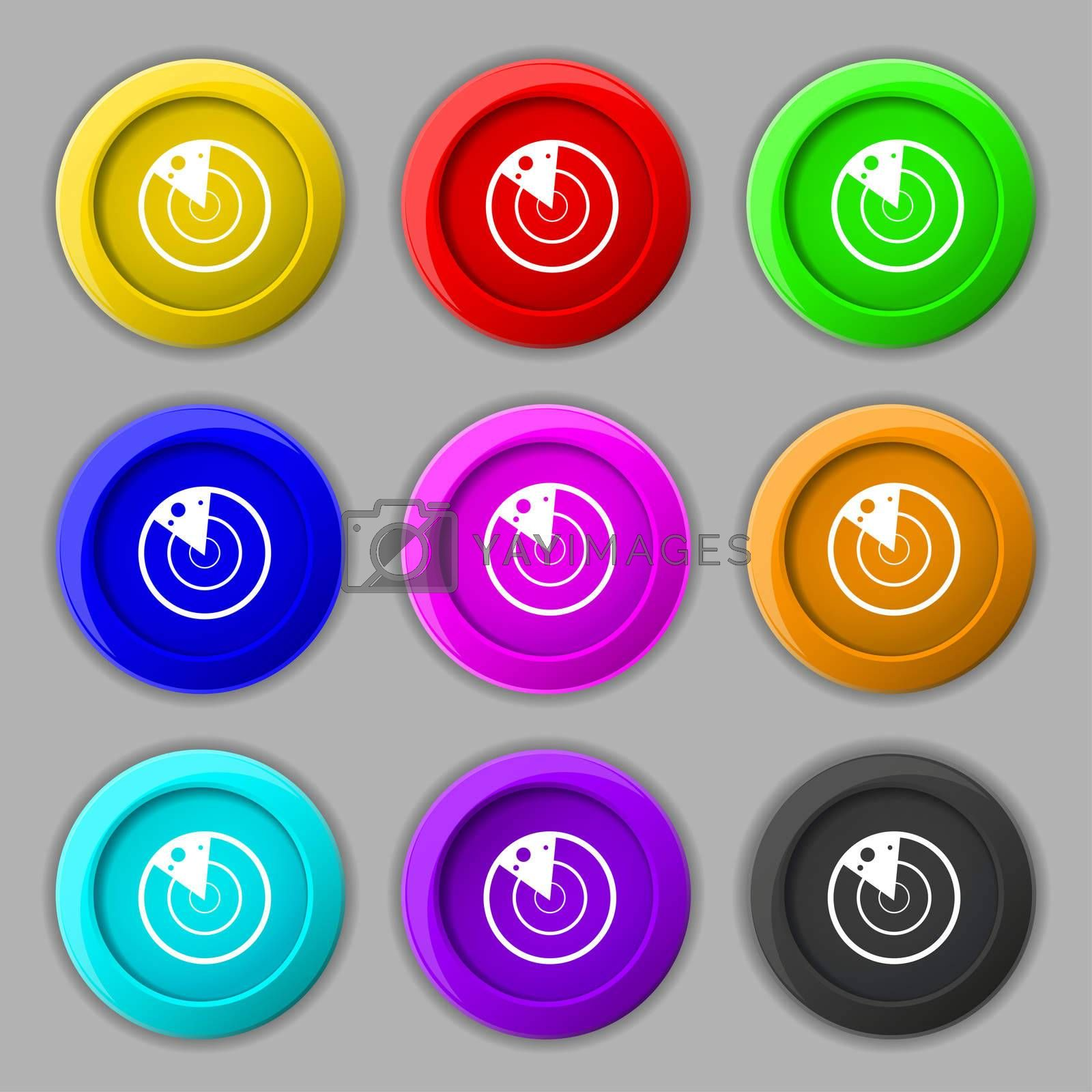 radar icon sign. symbol on nine round colourful buttons.  by Serhii Lohvyniuk
