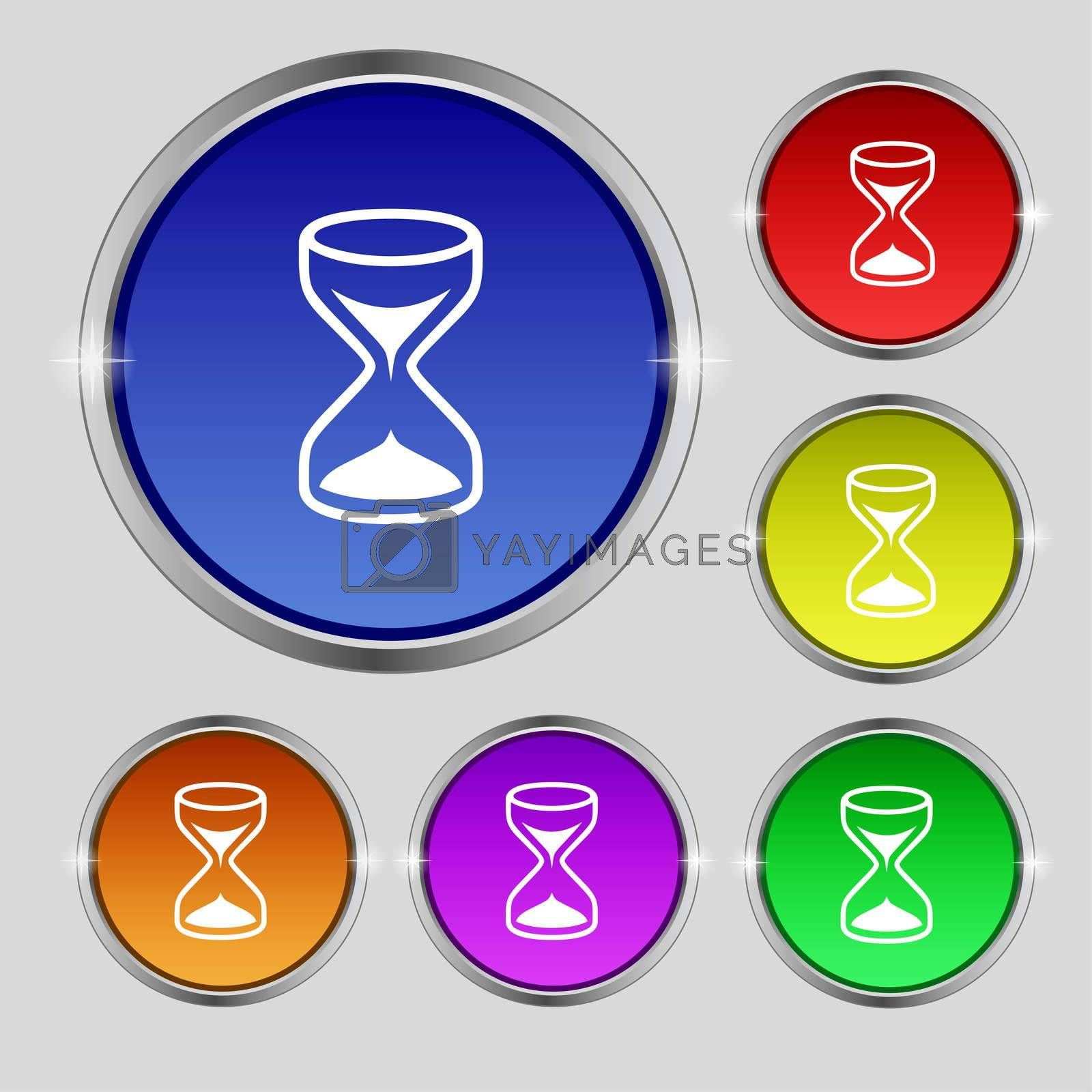Hourglass sign icon. Sand timer symbol. Set of colour buttons.  by Serhii Lohvyniuk