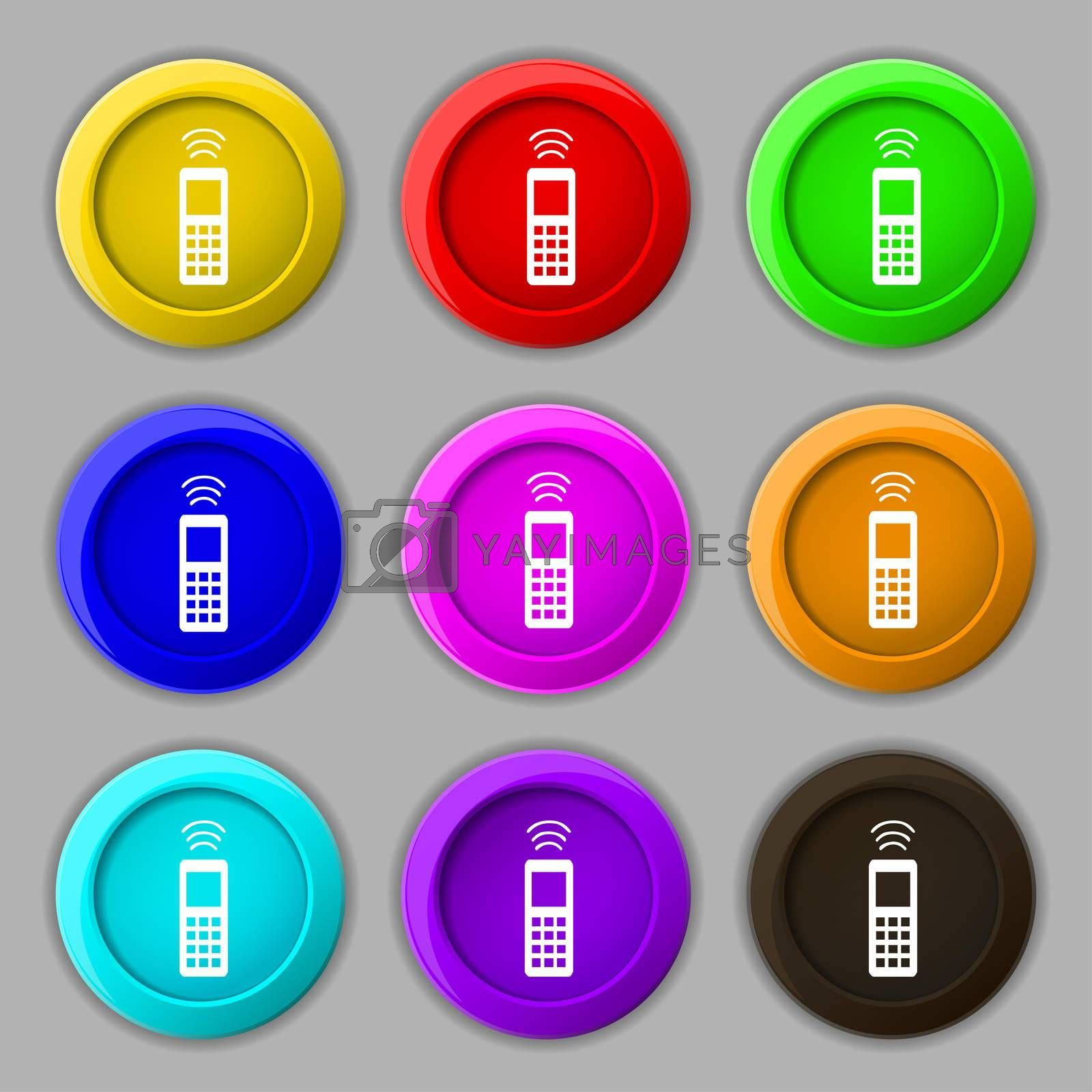 the remote control icon sign. symbol on nine round colourful buttons.  by Serhii Lohvyniuk