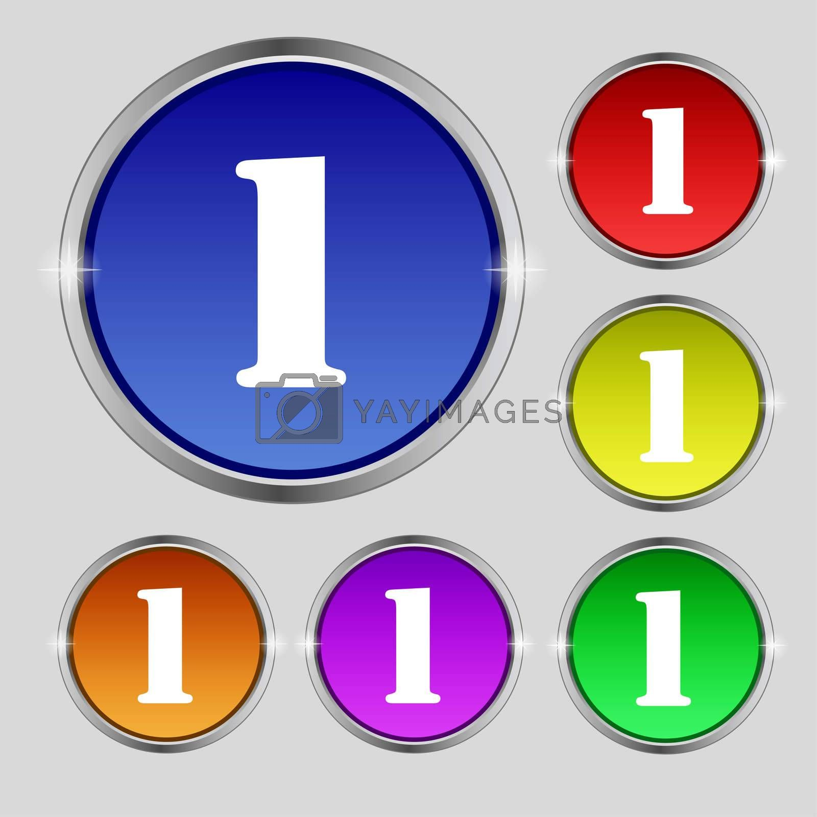 First place award sign. Winner symbol. Step one. Set of coloured buttons.  by Serhii Lohvyniuk