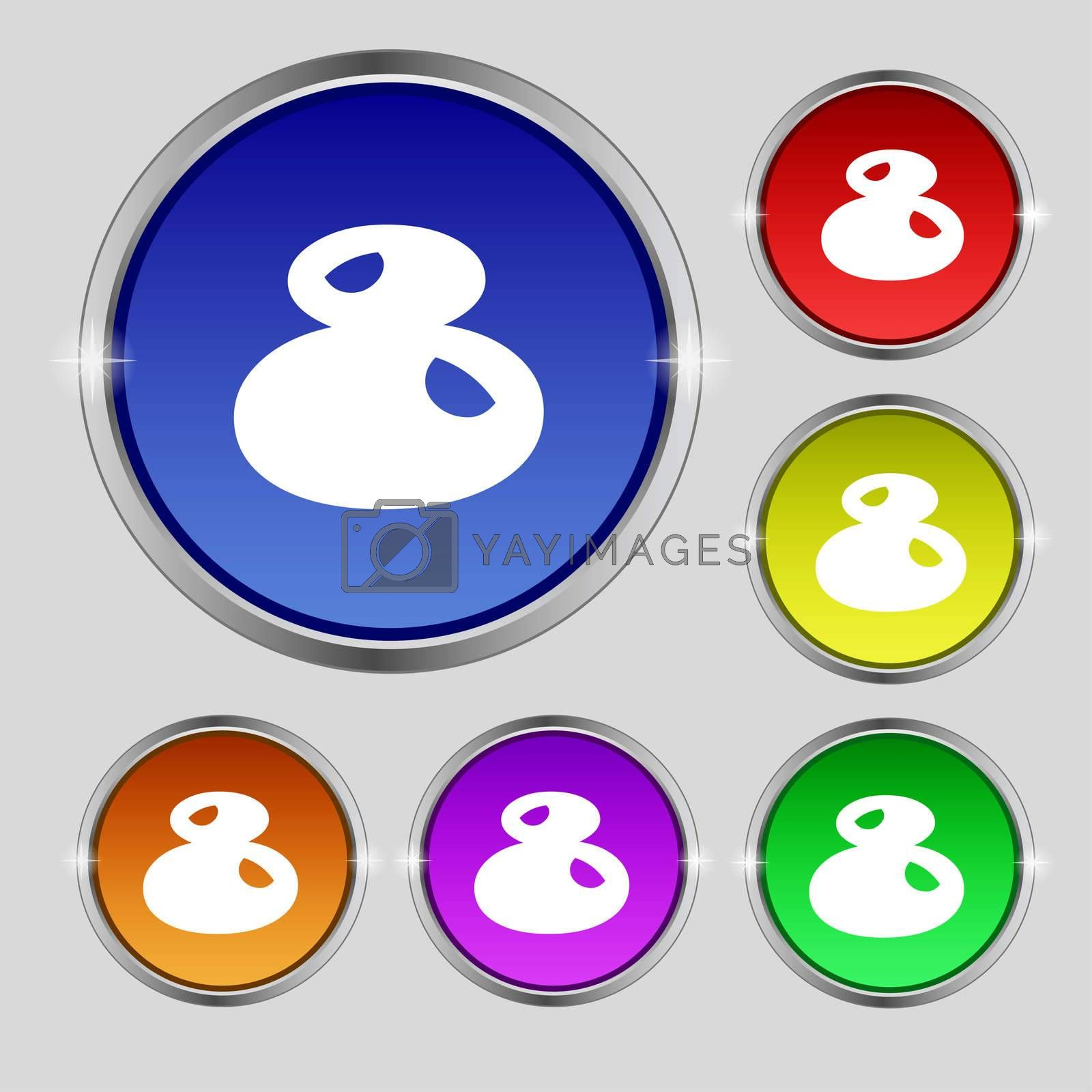 number Eight icon sign. Set of coloured buttons.  by Serhii Lohvyniuk