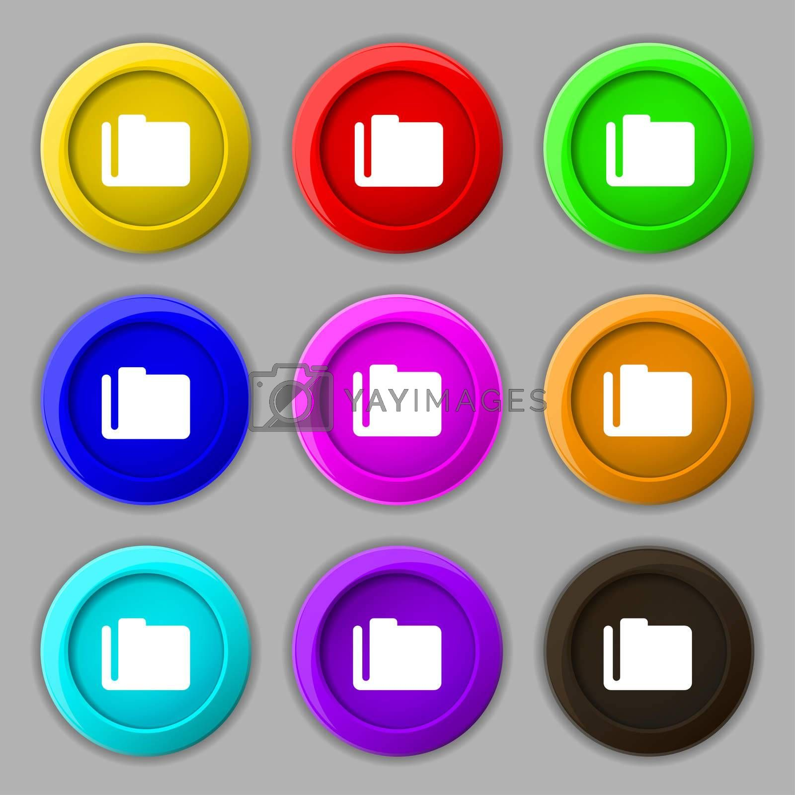 Document folder icon sign. symbol on nine round colourful buttons.  by Serhii Lohvyniuk