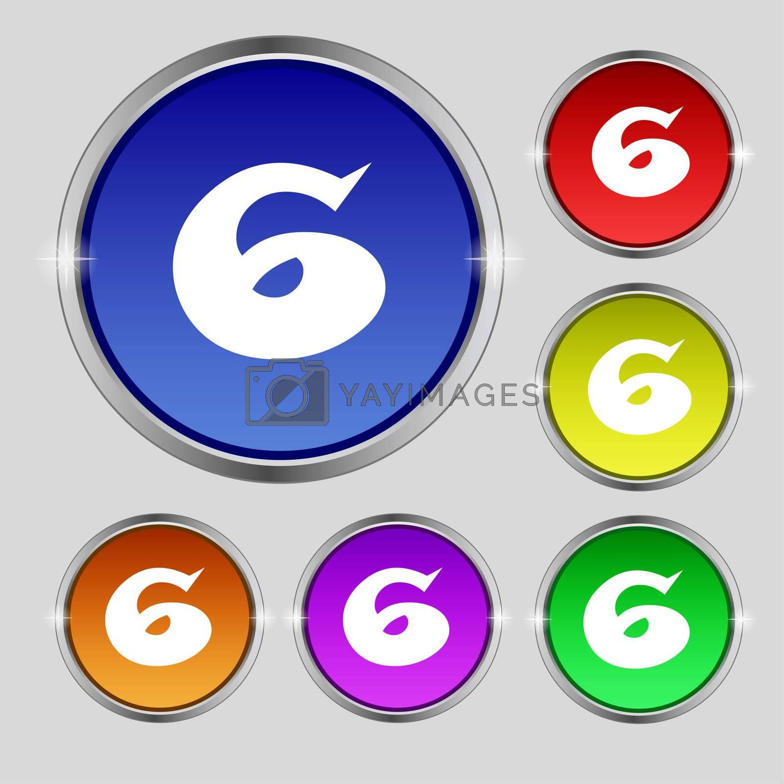 number six icon sign. Set of coloured buttons.  by Serhii Lohvyniuk