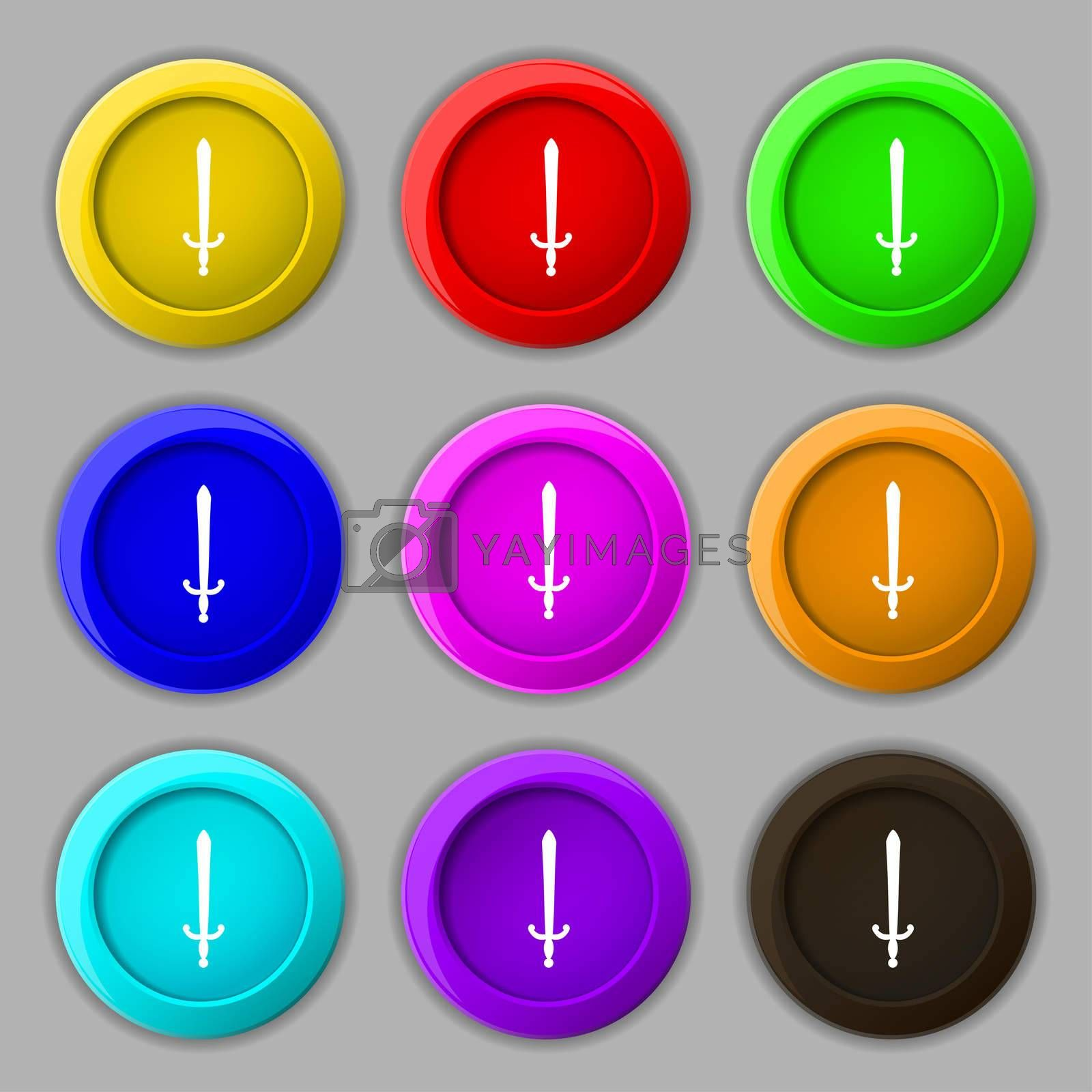 the sword icon sign. symbol on nine round colourful buttons.  by Serhii Lohvyniuk