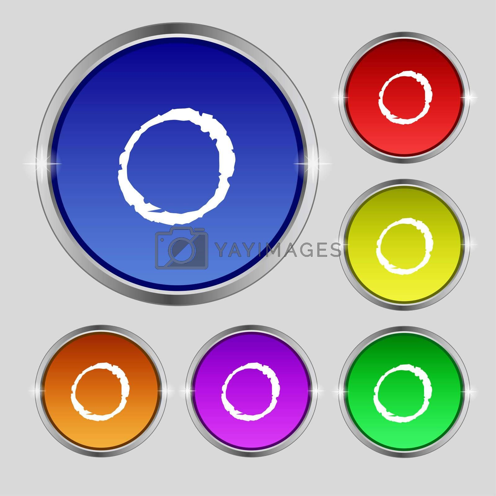 number zero icon sign. Set of coloured buttons.  by Serhii Lohvyniuk