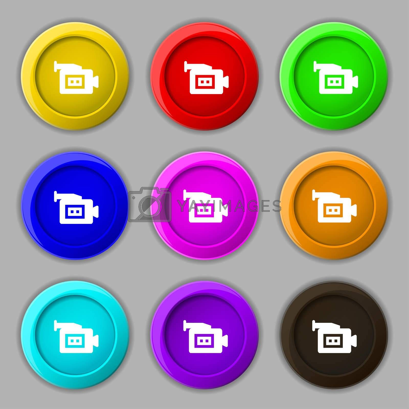 video camera icon sign. symbol on nine round colourful buttons.  by Serhii Lohvyniuk