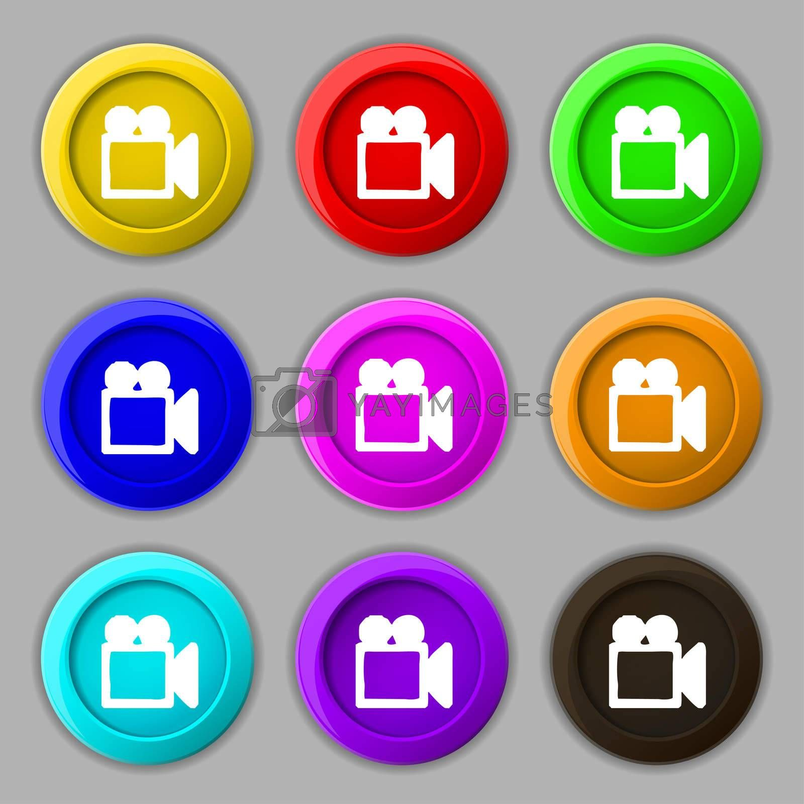 camcorder icon sign. symbol on nine round colourful buttons.  by Serhii Lohvyniuk