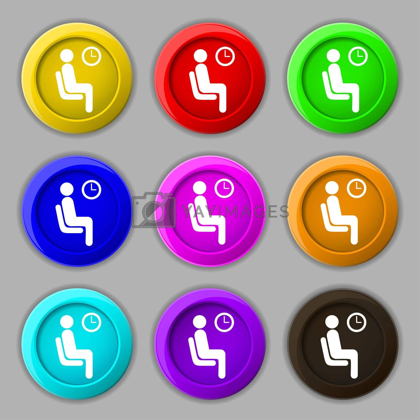 waiting icon sign. symbol on nine round colourful buttons.  by Serhii Lohvyniuk