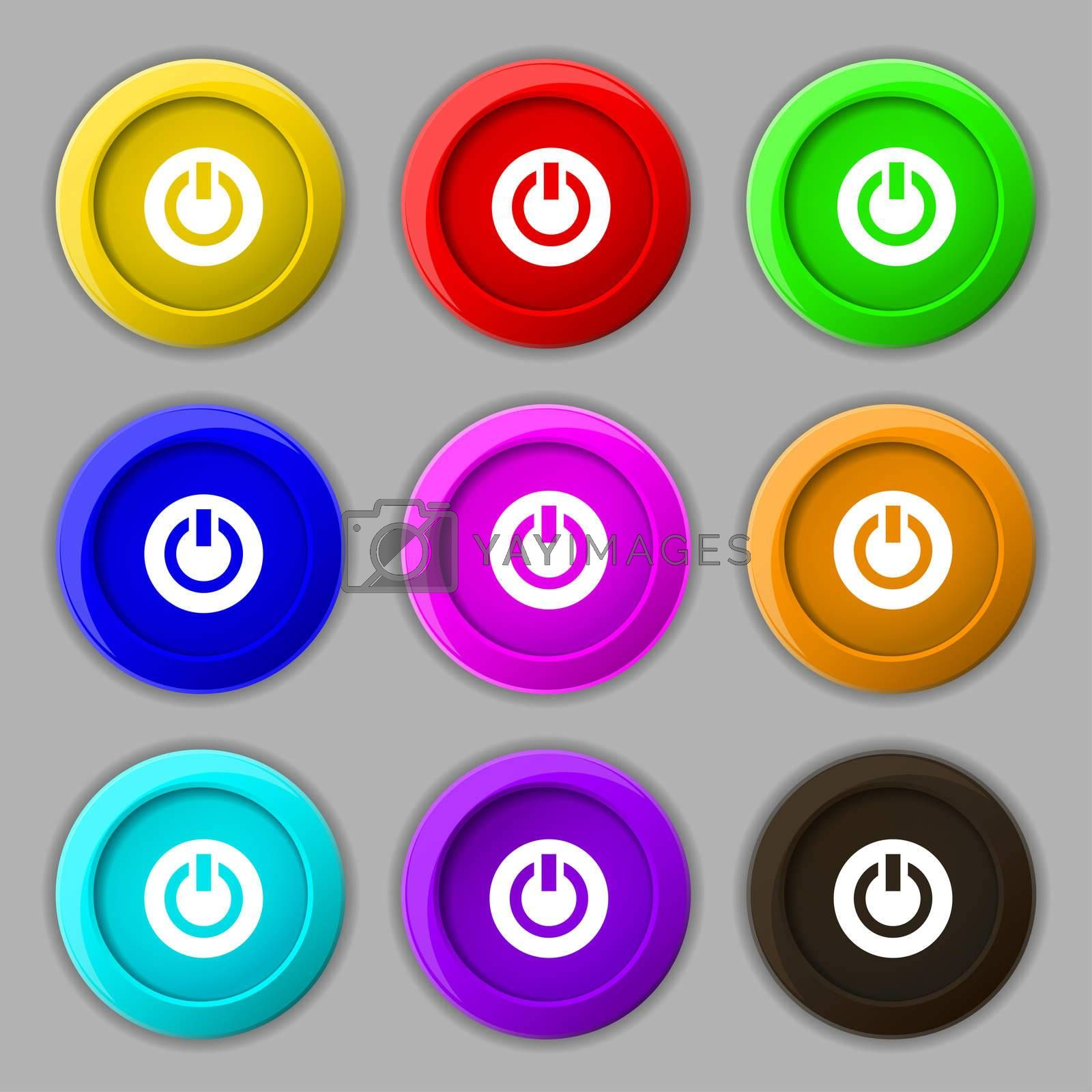 Power, Switch on, Turn on icon sign. symbol on nine round colourful buttons.  by Serhii Lohvyniuk