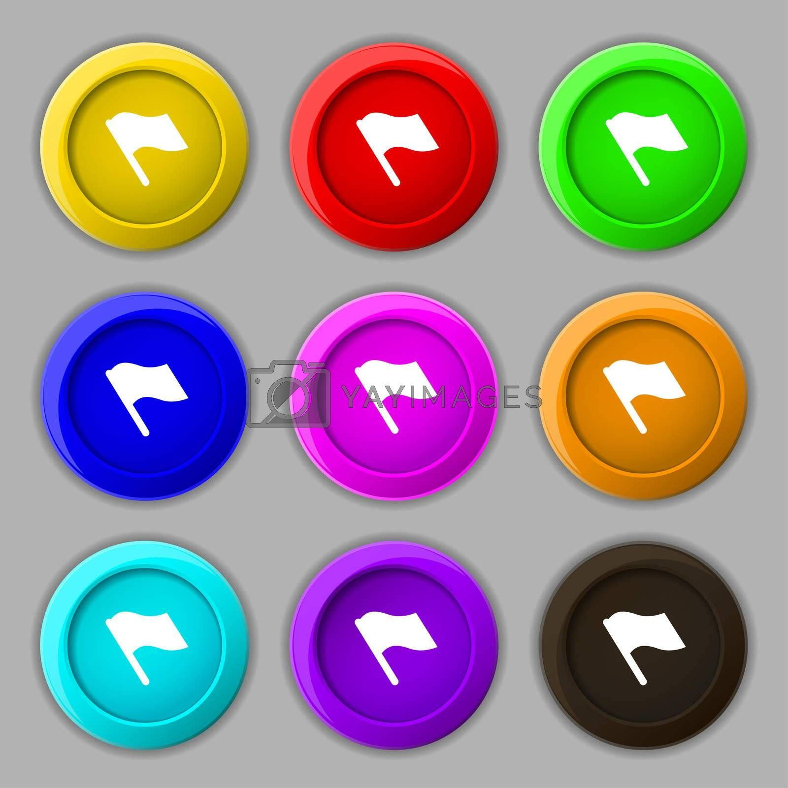 Finish, start flag icon sign. symbol on nine round colourful buttons.  by Serhii Lohvyniuk