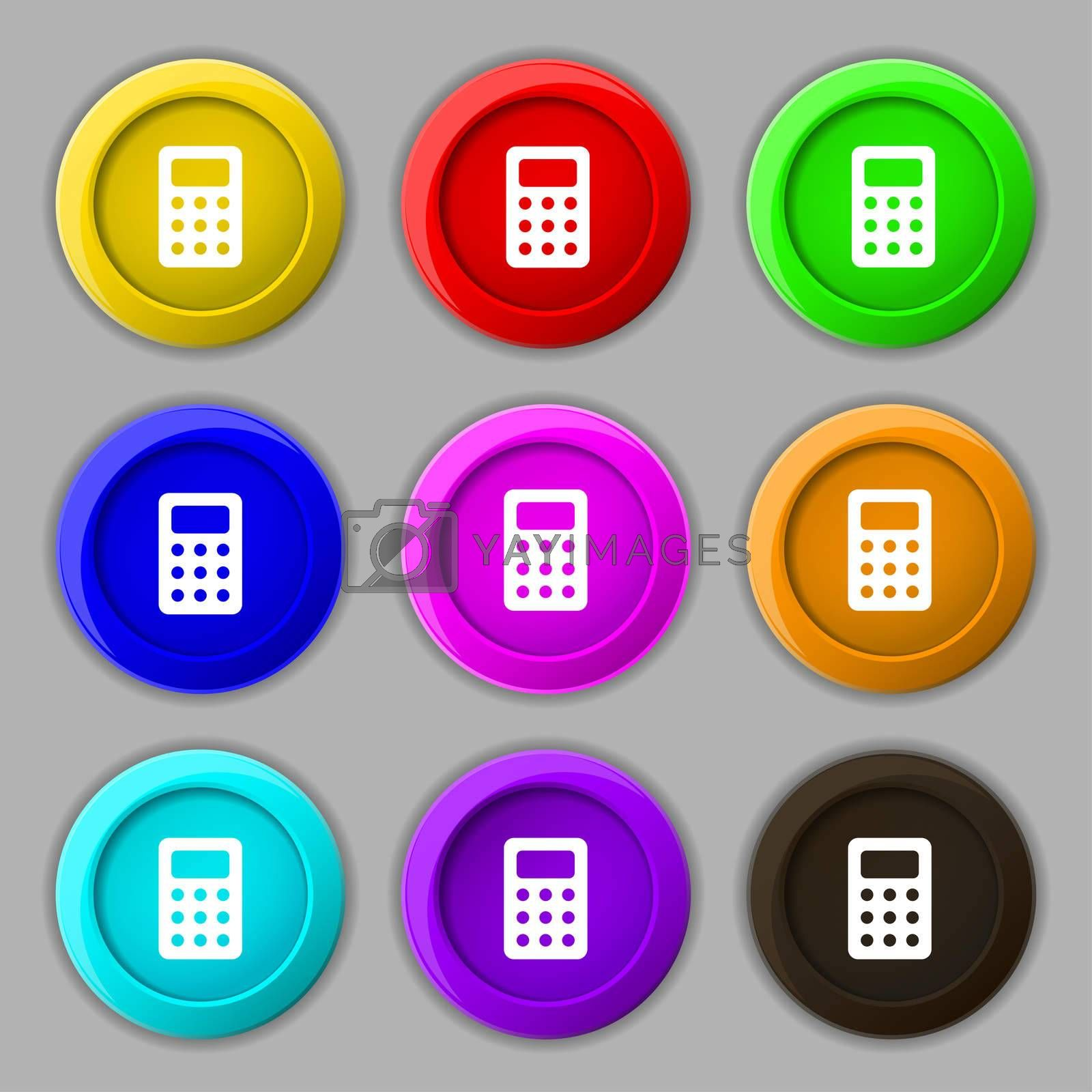 Calculator, Bookkeeping icon sign. symbol on nine round colourful buttons.  by Serhii Lohvyniuk