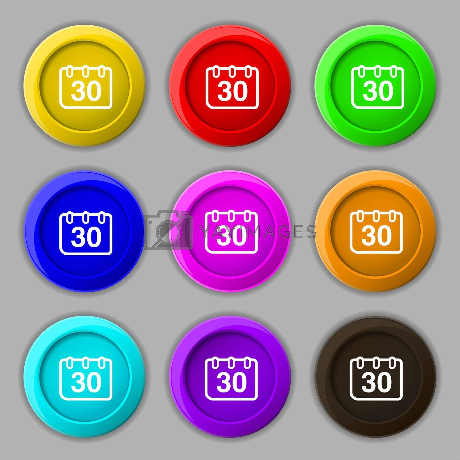 calendar icon sign. symbol on nine round colourful buttons.  by Serhii Lohvyniuk