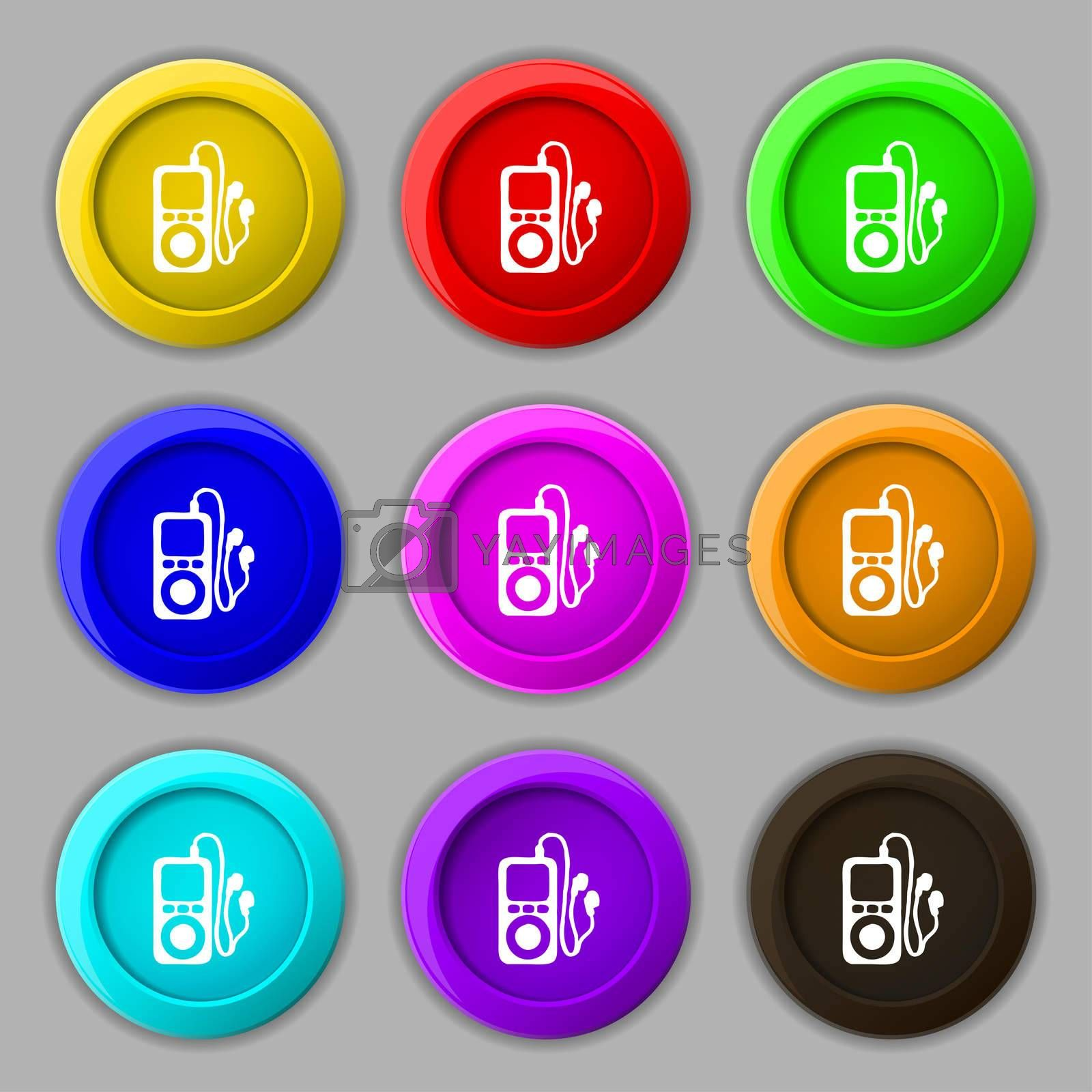 MP3 player, headphones, music icon sign. symbol on nine round colourful buttons.  by Serhii Lohvyniuk