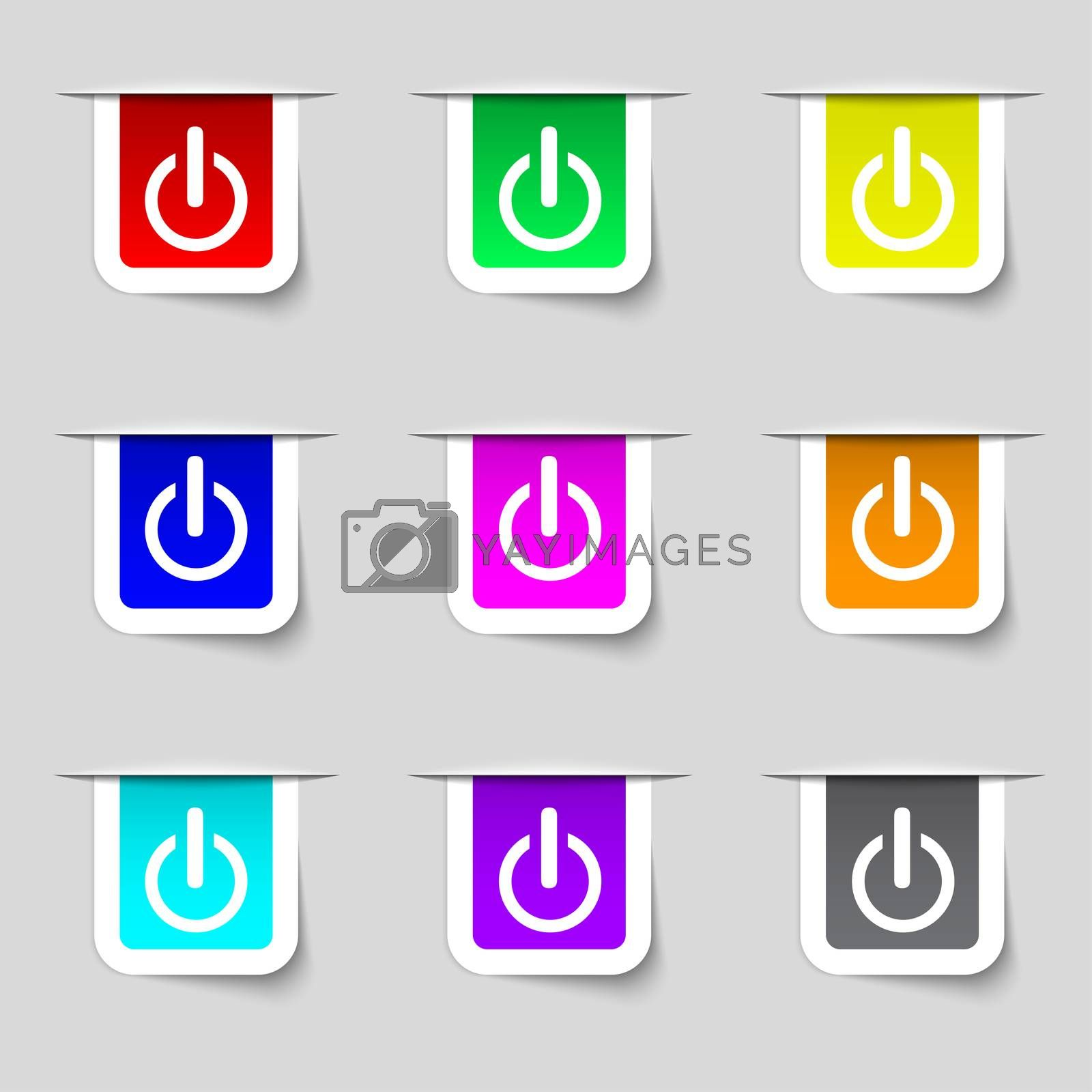 Power sign icon. Switch symbol. Turn on energy. Set of colourful buttons by Serhii Lohvyniuk