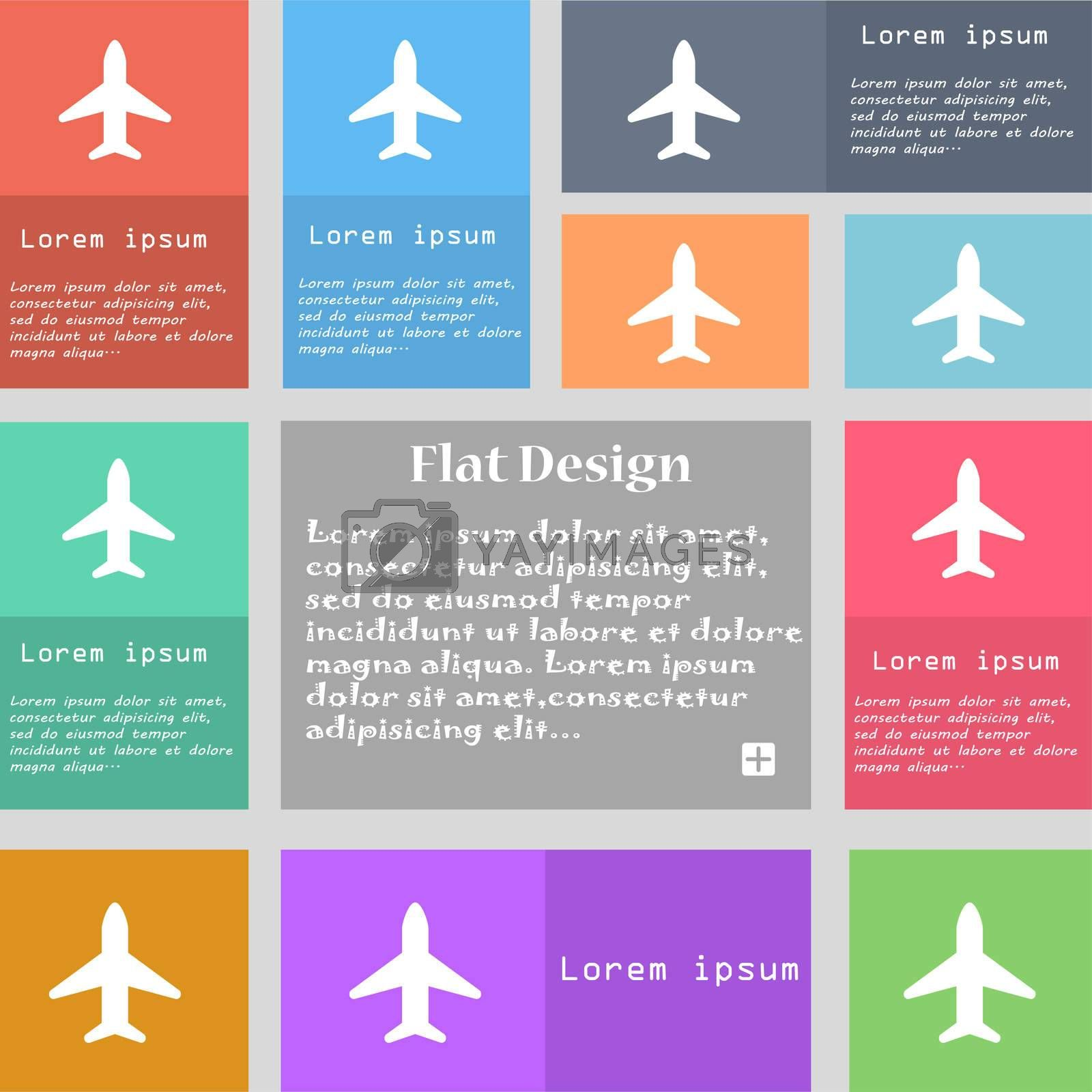 Airplane, Plane, Travel, Flight icon sign. Set of multicolored buttons. Metro style with space for text. The Long Shadow  by Serhii Lohvyniuk