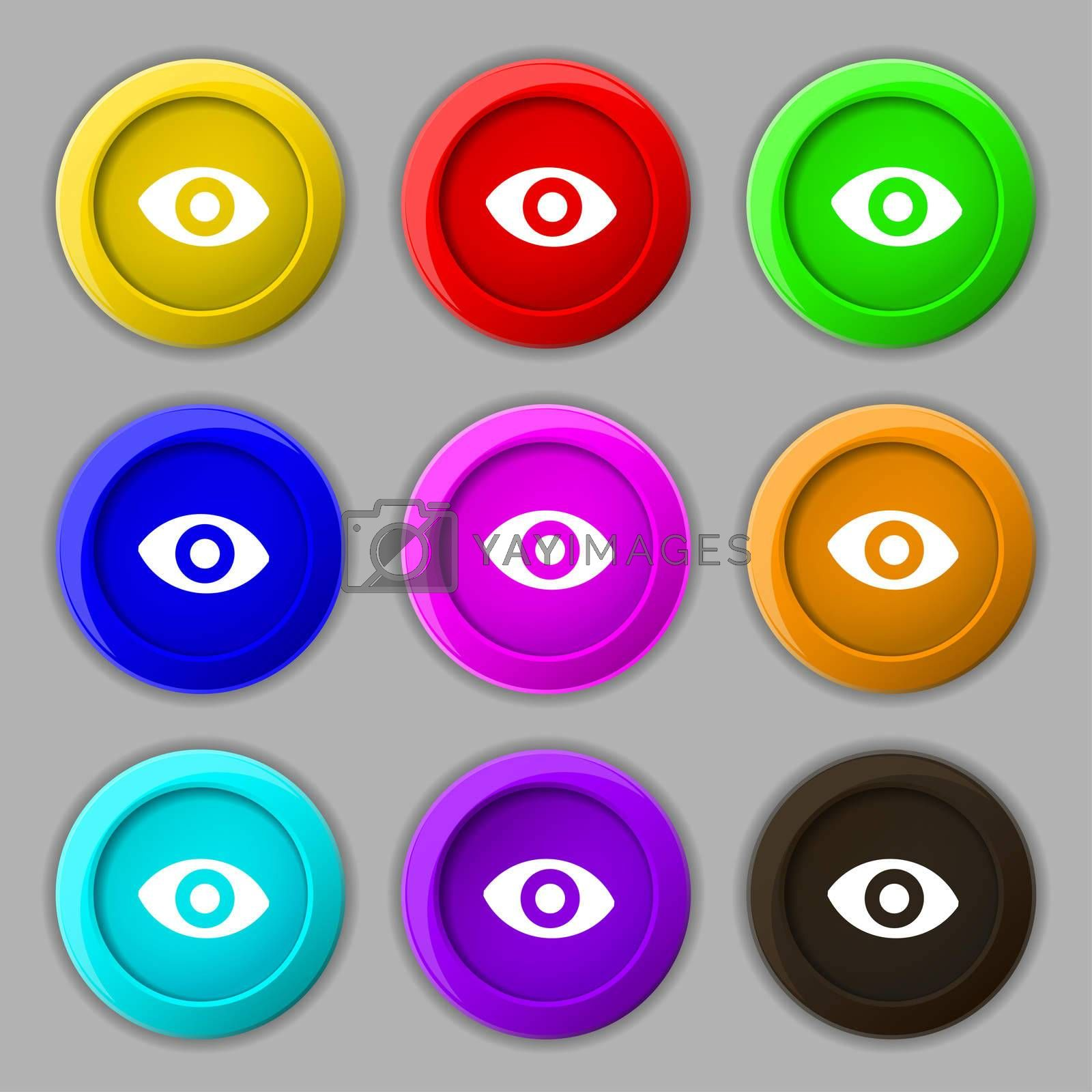 sixth sense, the eye icon sign. symbol on nine round colourful buttons.  by Serhii Lohvyniuk