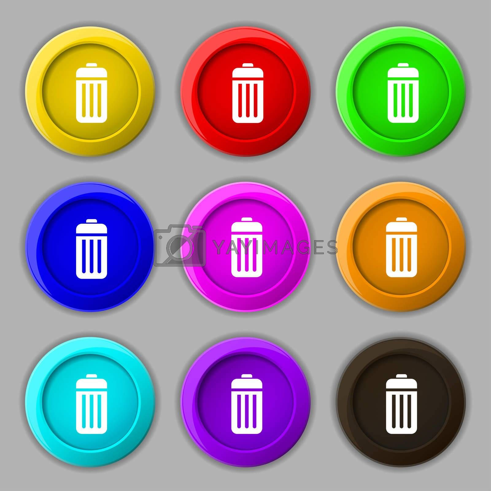 The trash icon sign. symbol on nine round colourful buttons.  by Serhii Lohvyniuk