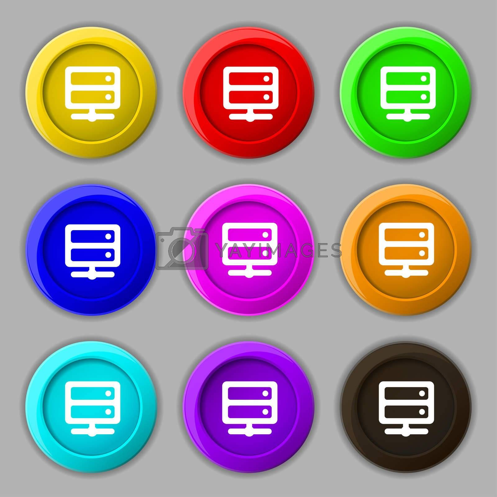 Server icon sign. symbol on nine round colourful buttons.  by Serhii Lohvyniuk