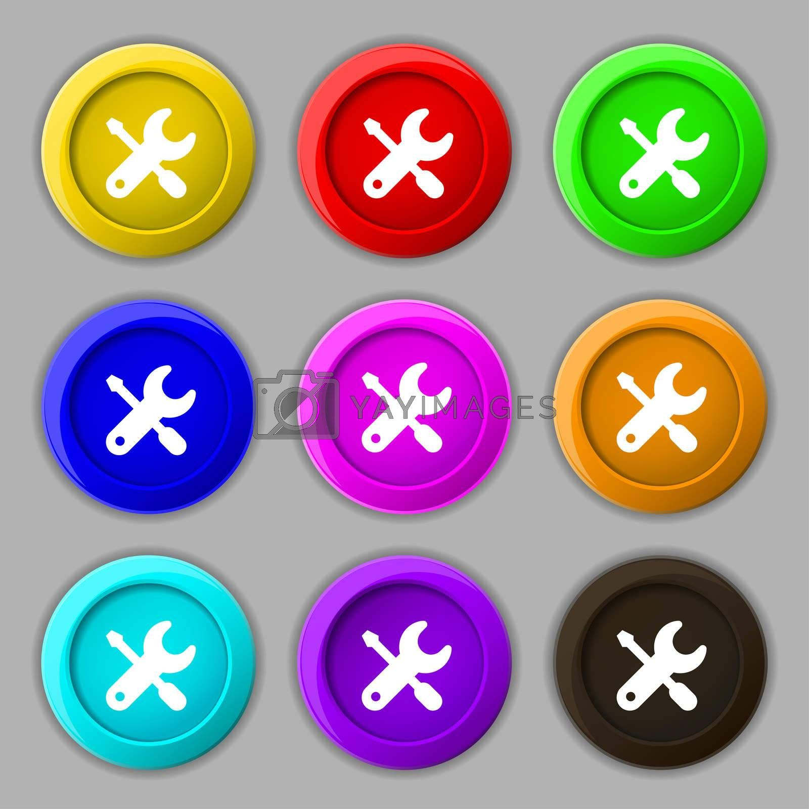screwdriver, key, settings icon sign. symbol on nine round colourful buttons.  by Serhii Lohvyniuk