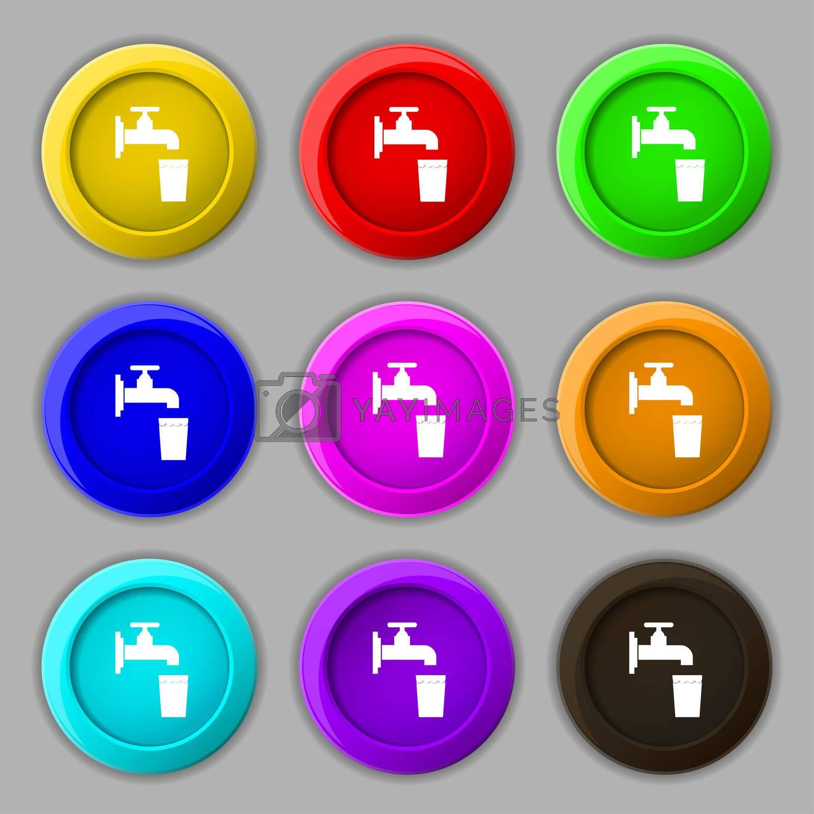 faucet, glass, water icon sign. symbol on nine round colourful buttons.  by Serhii Lohvyniuk