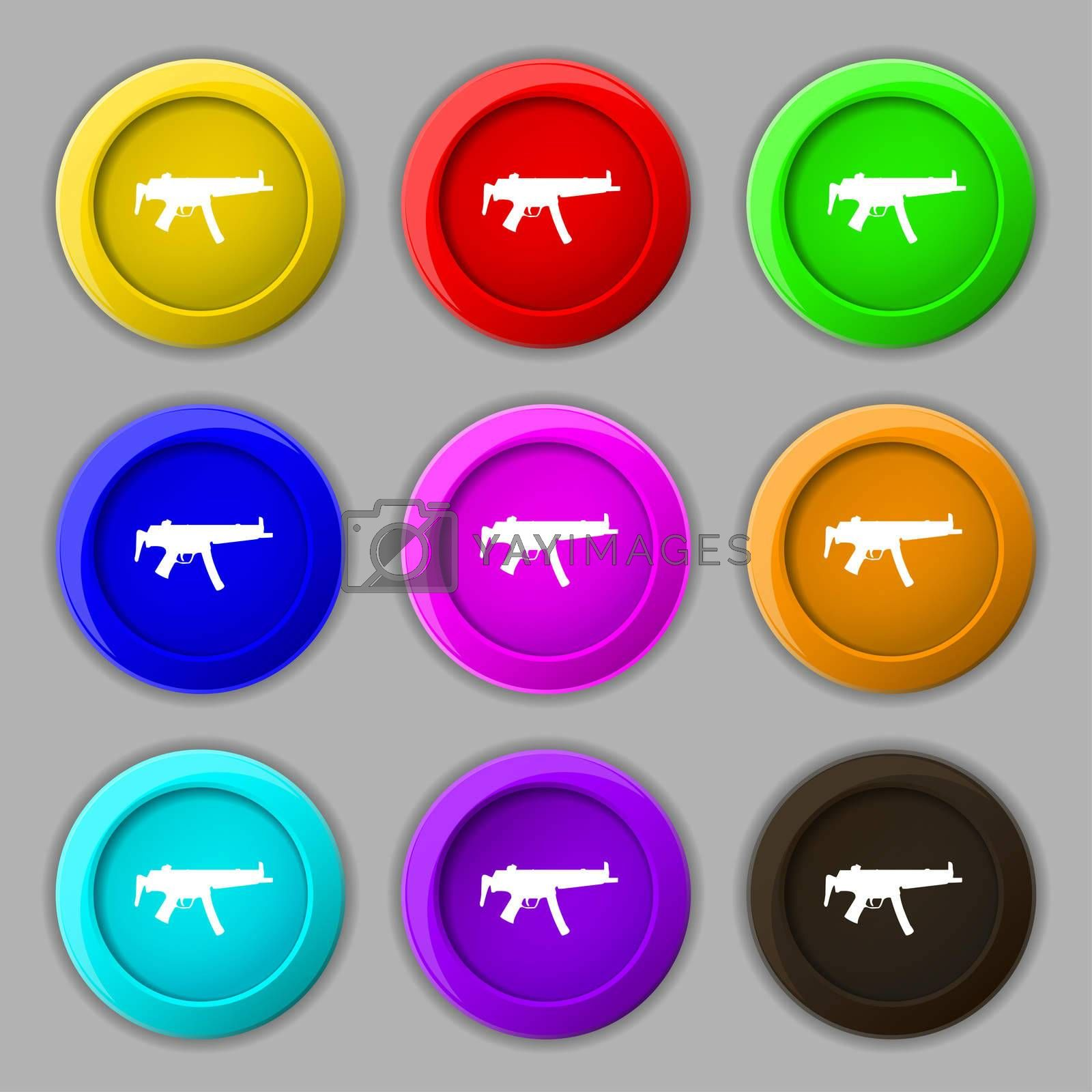 machine gun icon sign. symbol on nine round colourful buttons.  by Serhii Lohvyniuk