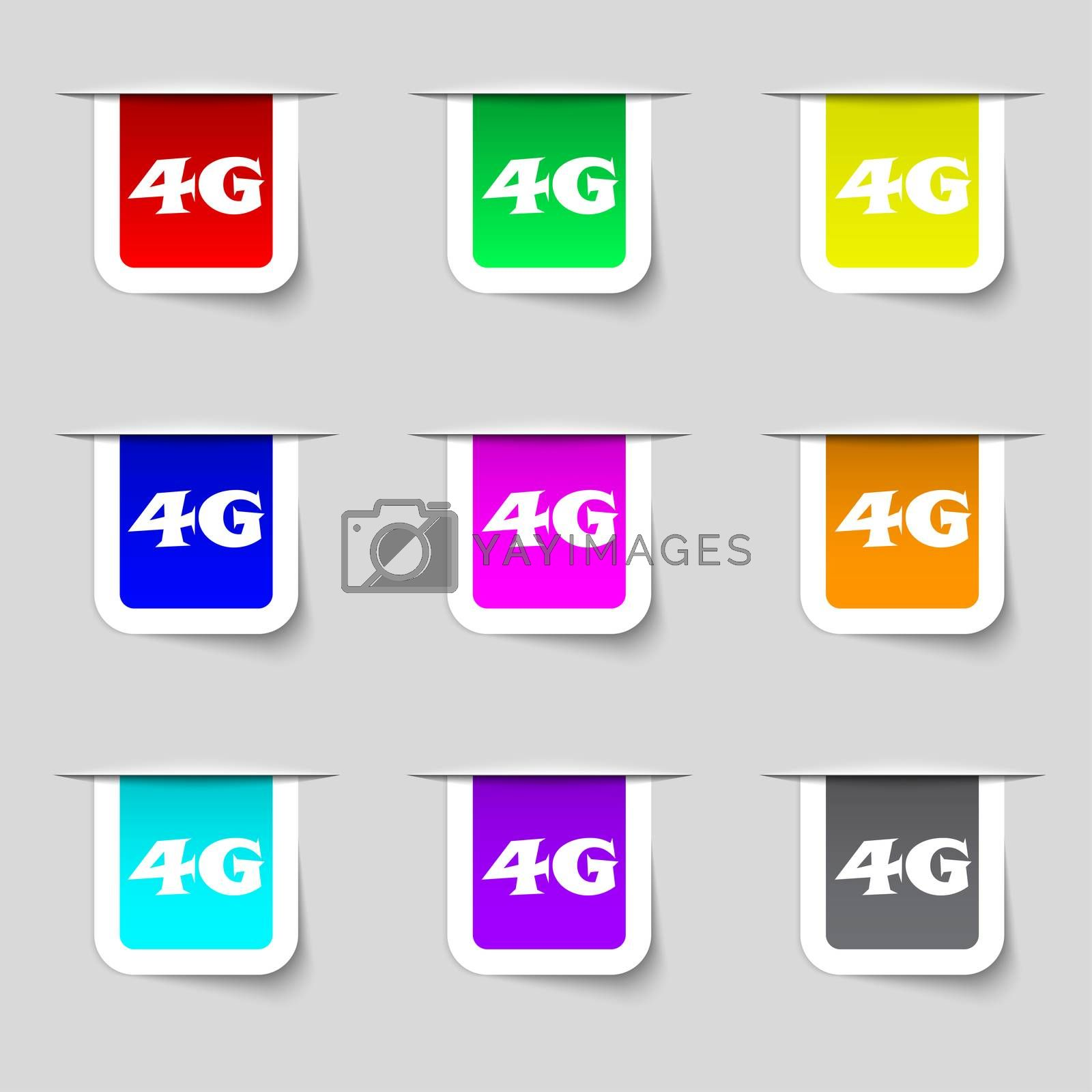 4G sign icon. Mobile telecommunications technology symbol. Set of colour buttons.  by Serhii Lohvyniuk