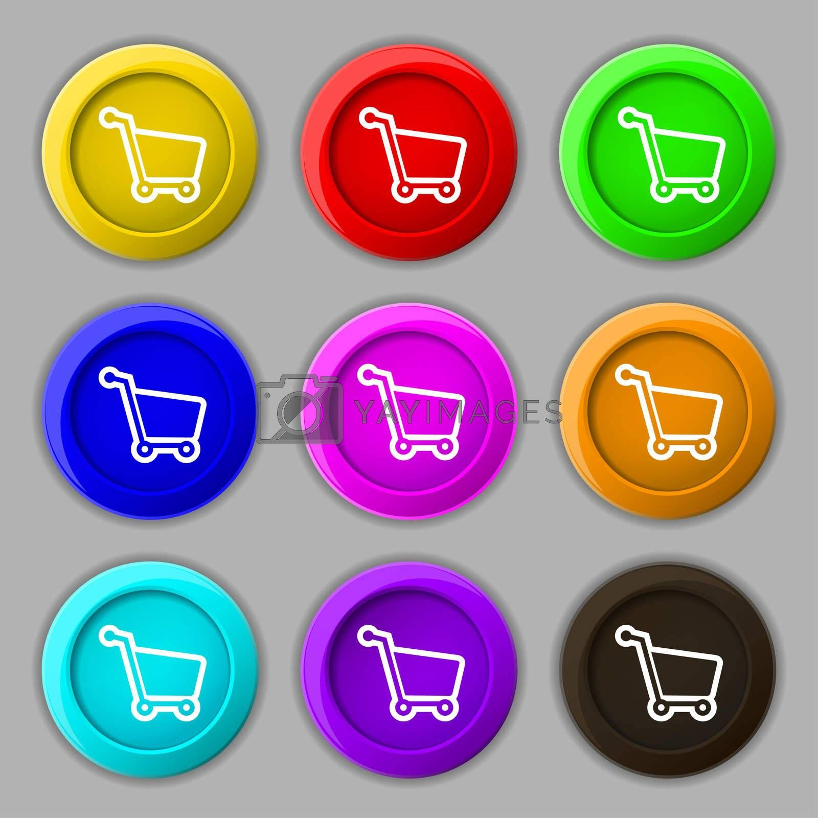 Shopping cart icon sign. symbol on nine round colourful buttons.  by Serhii Lohvyniuk
