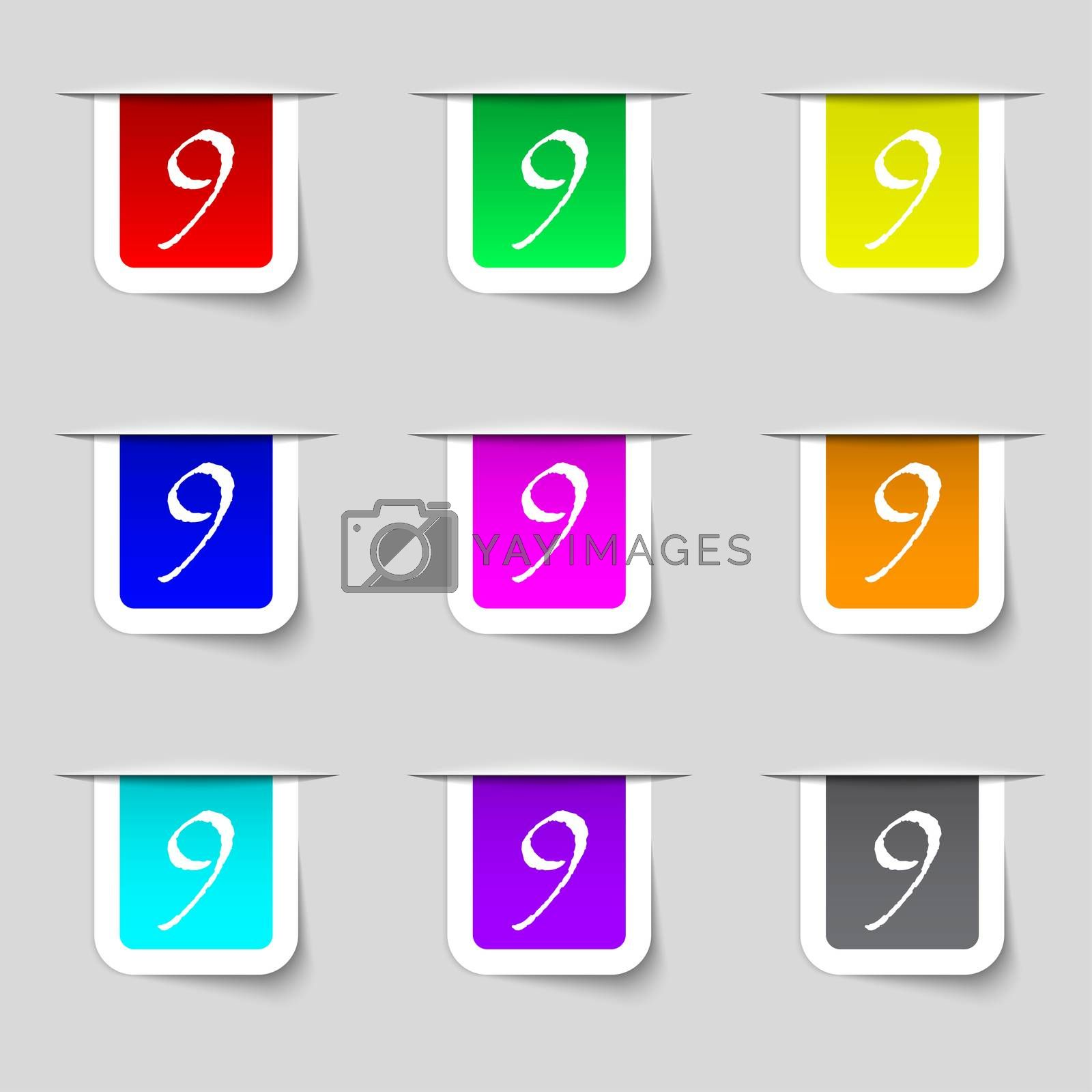 number Nine icon sign. Set of coloured buttons.  by Serhii Lohvyniuk