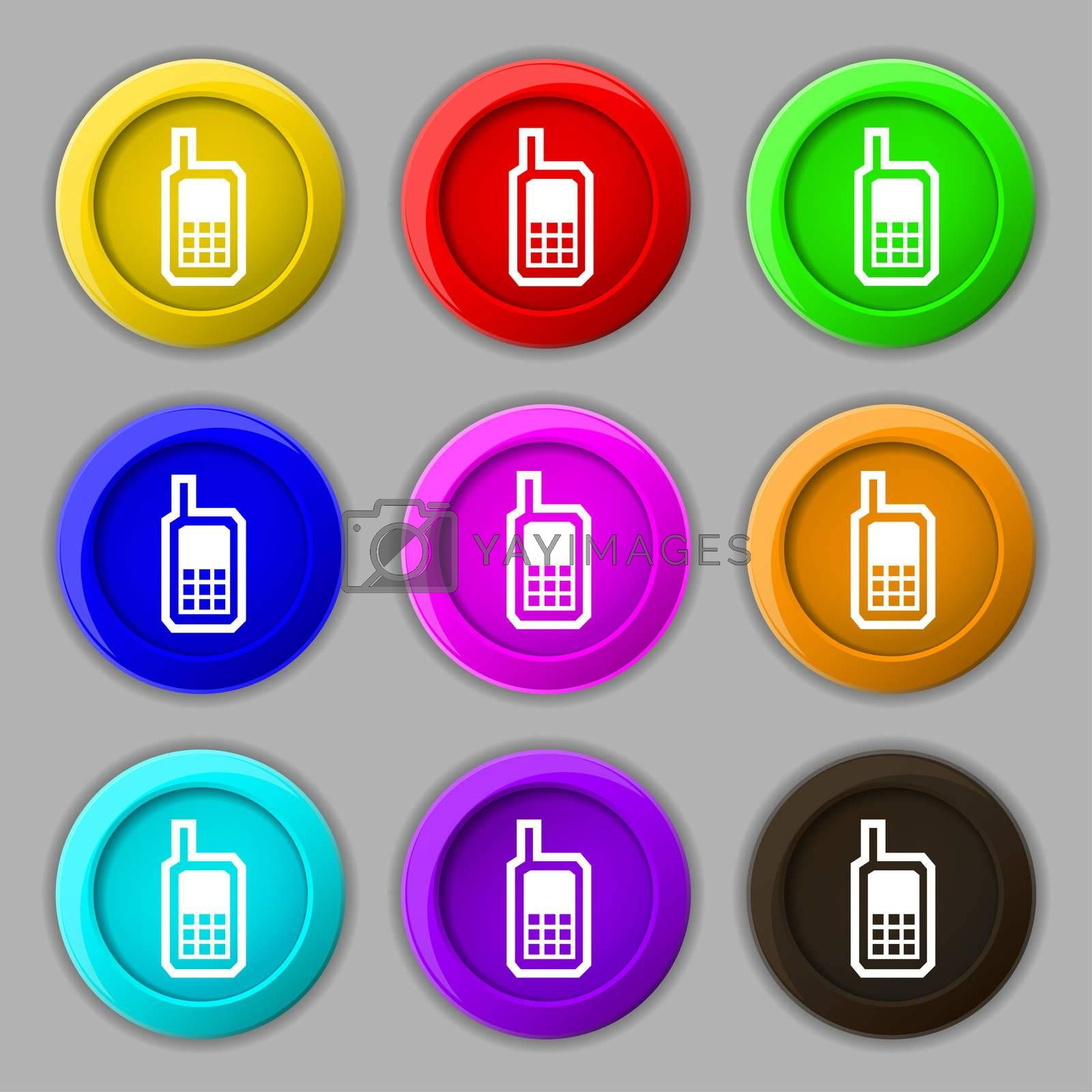 Mobile phone icon sign. symbol on nine round colourful buttons.  by Serhii Lohvyniuk