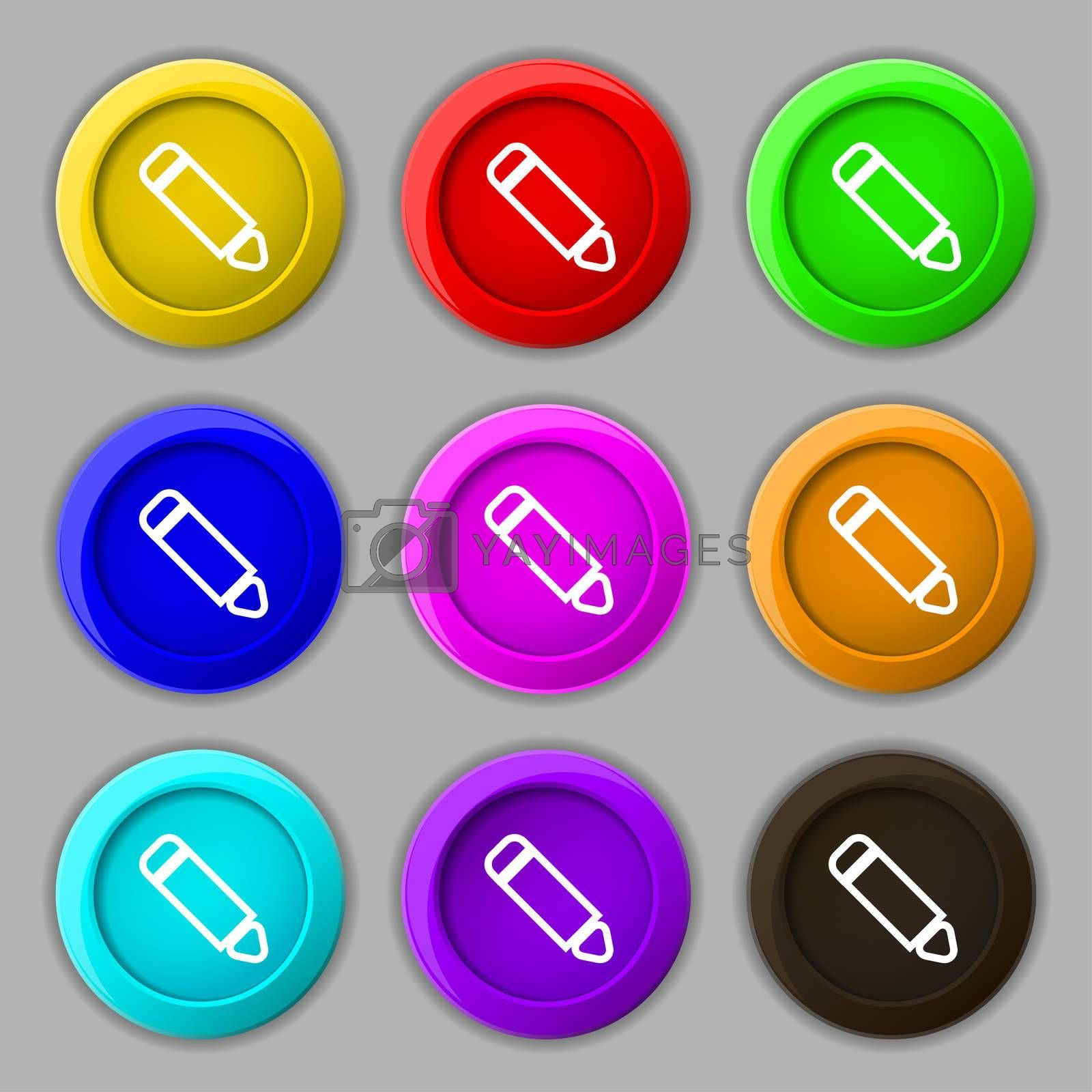 Pen icon sign. symbol on nine round colourful buttons.  by Serhii Lohvyniuk