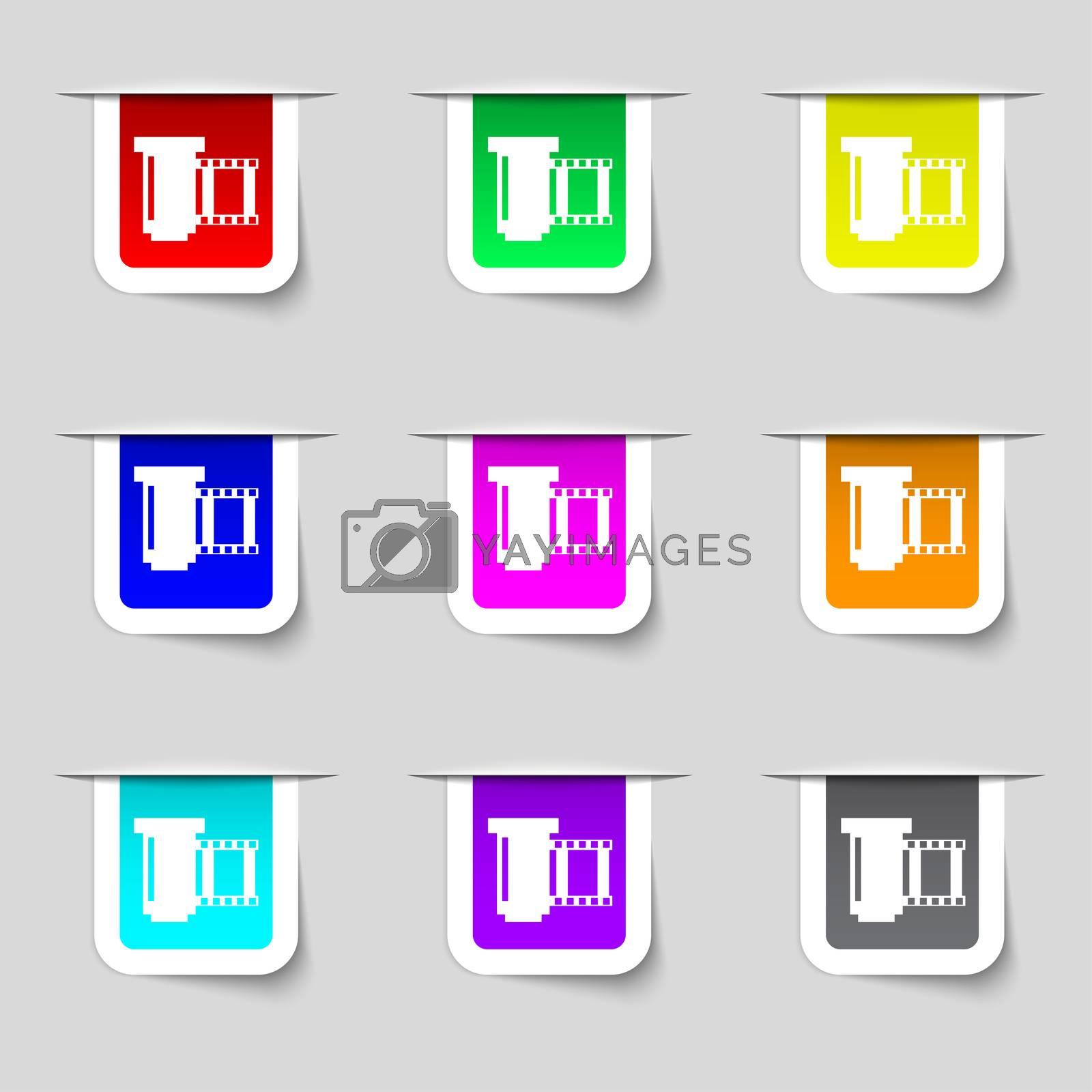negative films icon symbol. Set of colourful buttons.  by Serhii Lohvyniuk